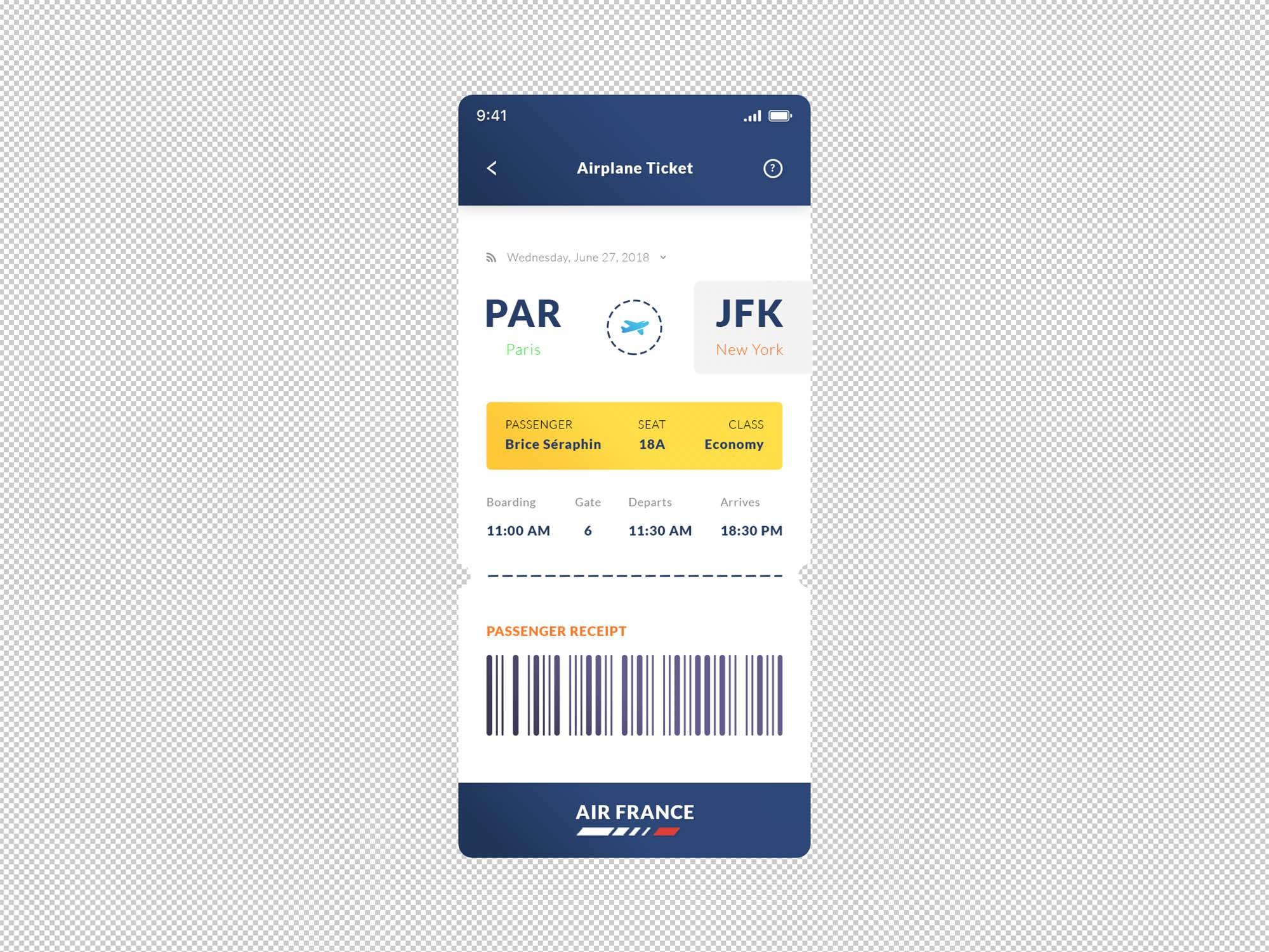 Airplane Ticket App Template PSD