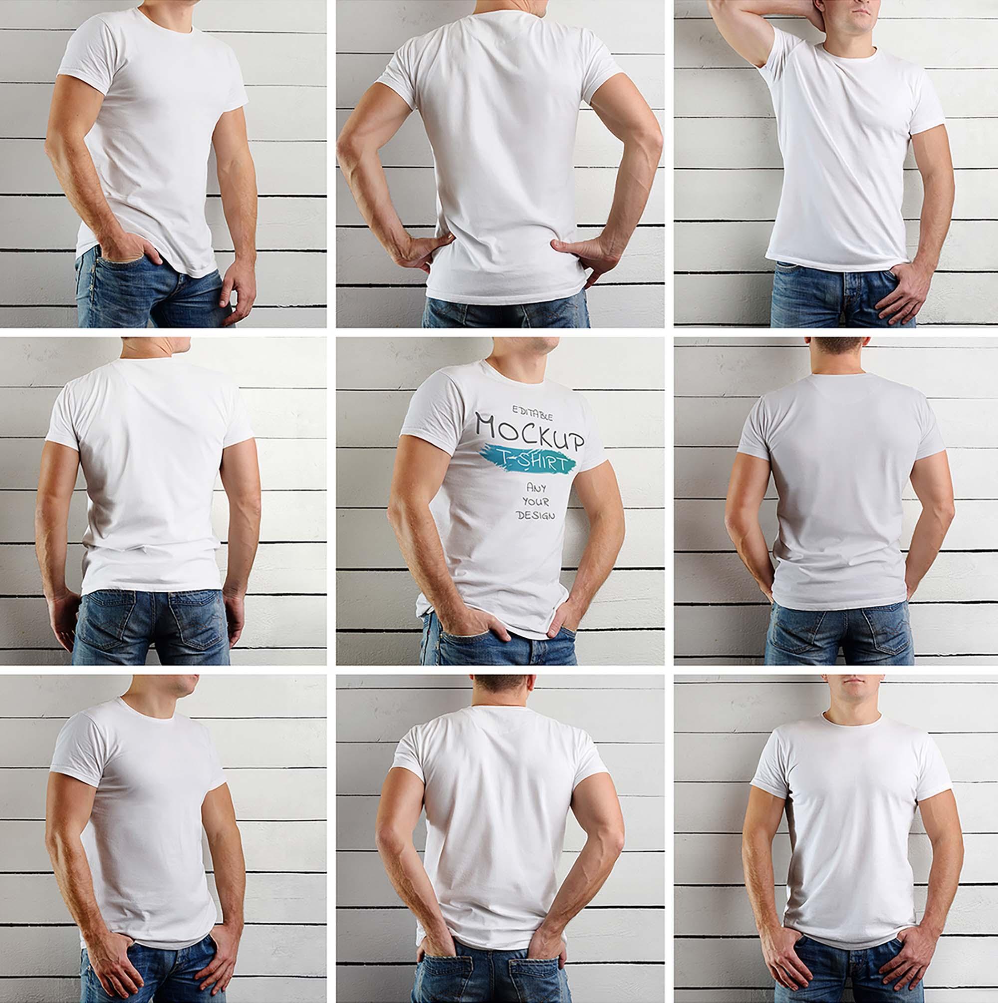 9 Athletic Man Wearing T-Shirt Mockups