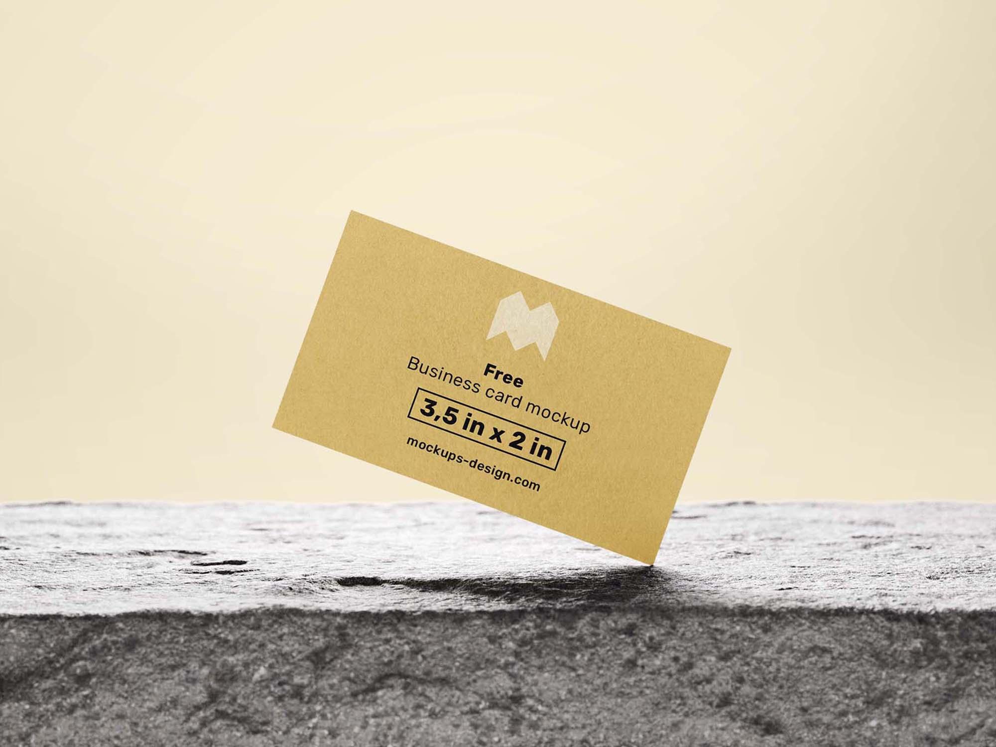 Business Card on Natural Rock Mockup 2