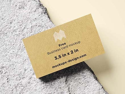 Business Card on Natural Rock Mockup