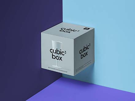 Cubic Box Packaging Mockup