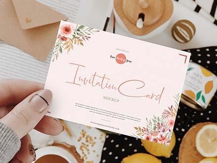 Girl Showing Invitation Card Mockup