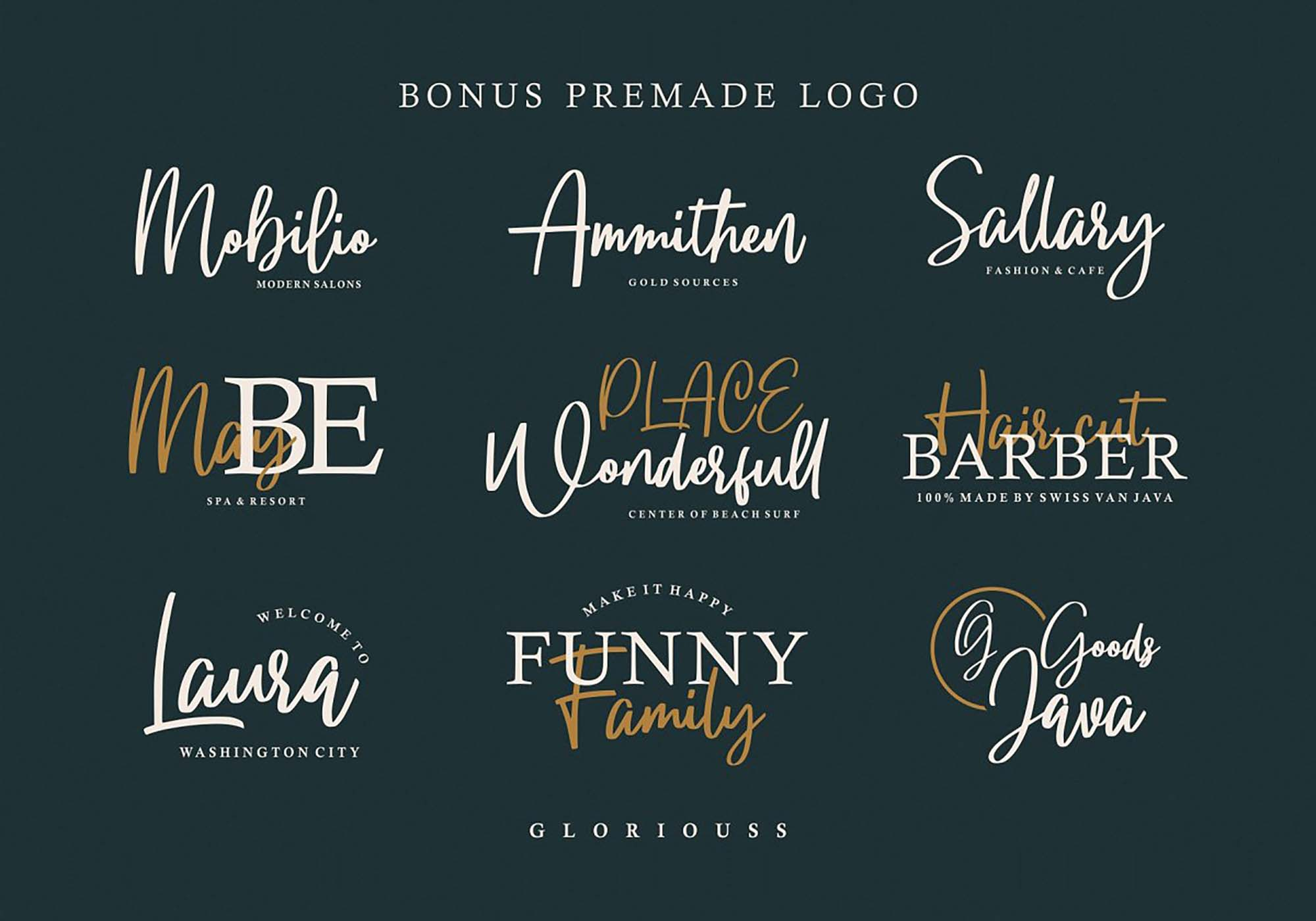 Gloryouss Font Logos