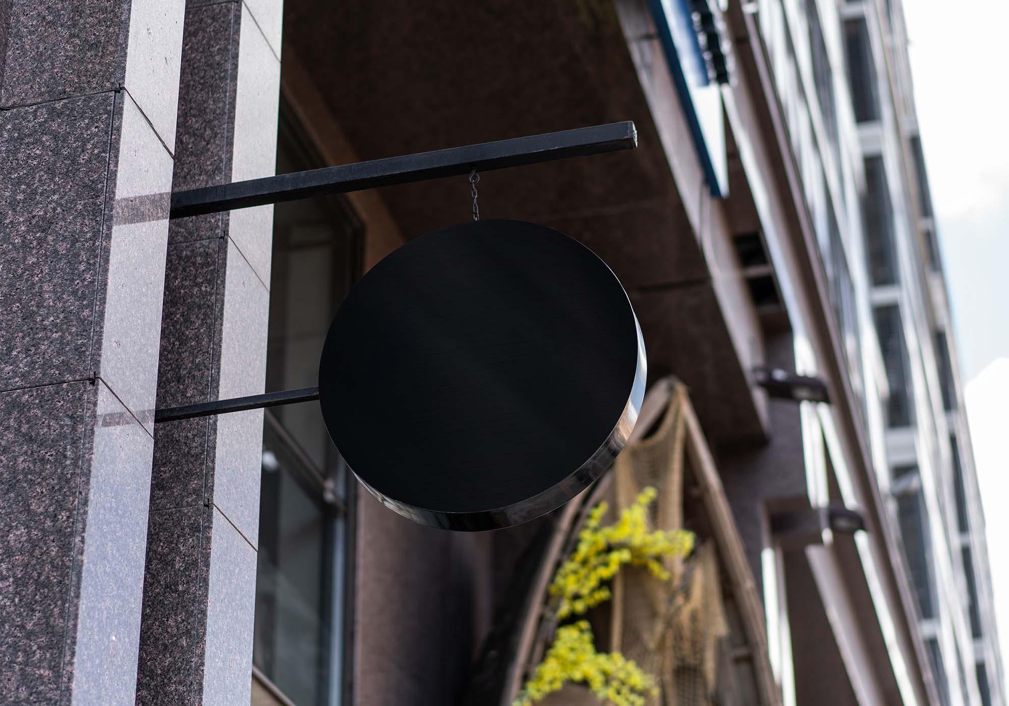 Hanging Round Wall Sign Mockup 2