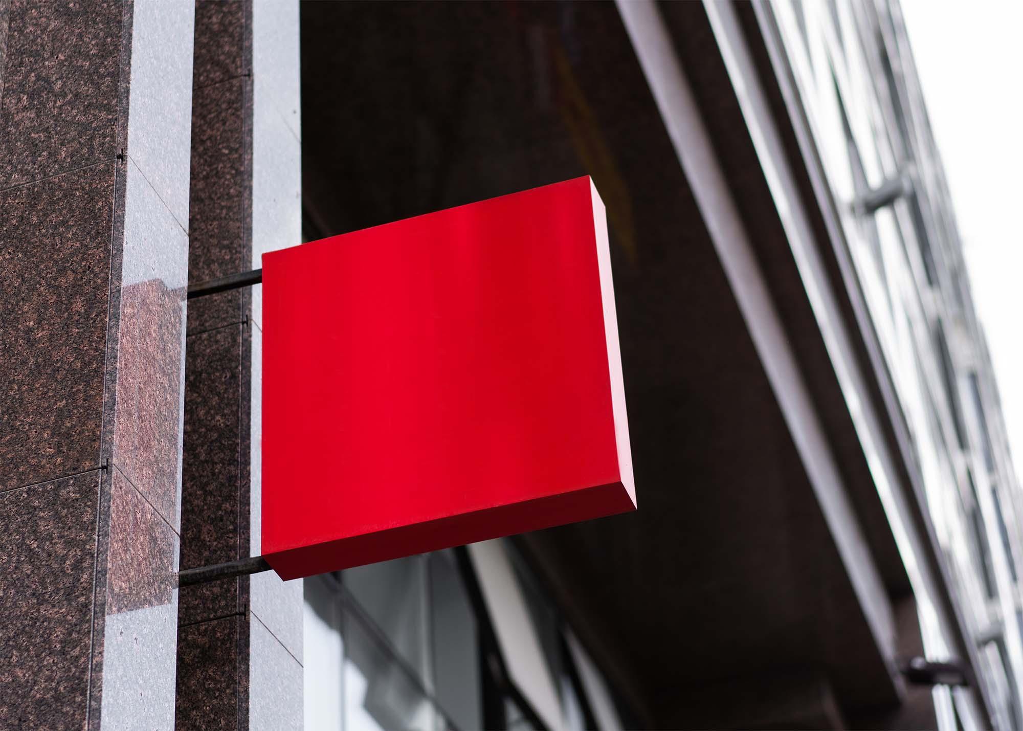 Hanging Wall Company Sign Mockup 2