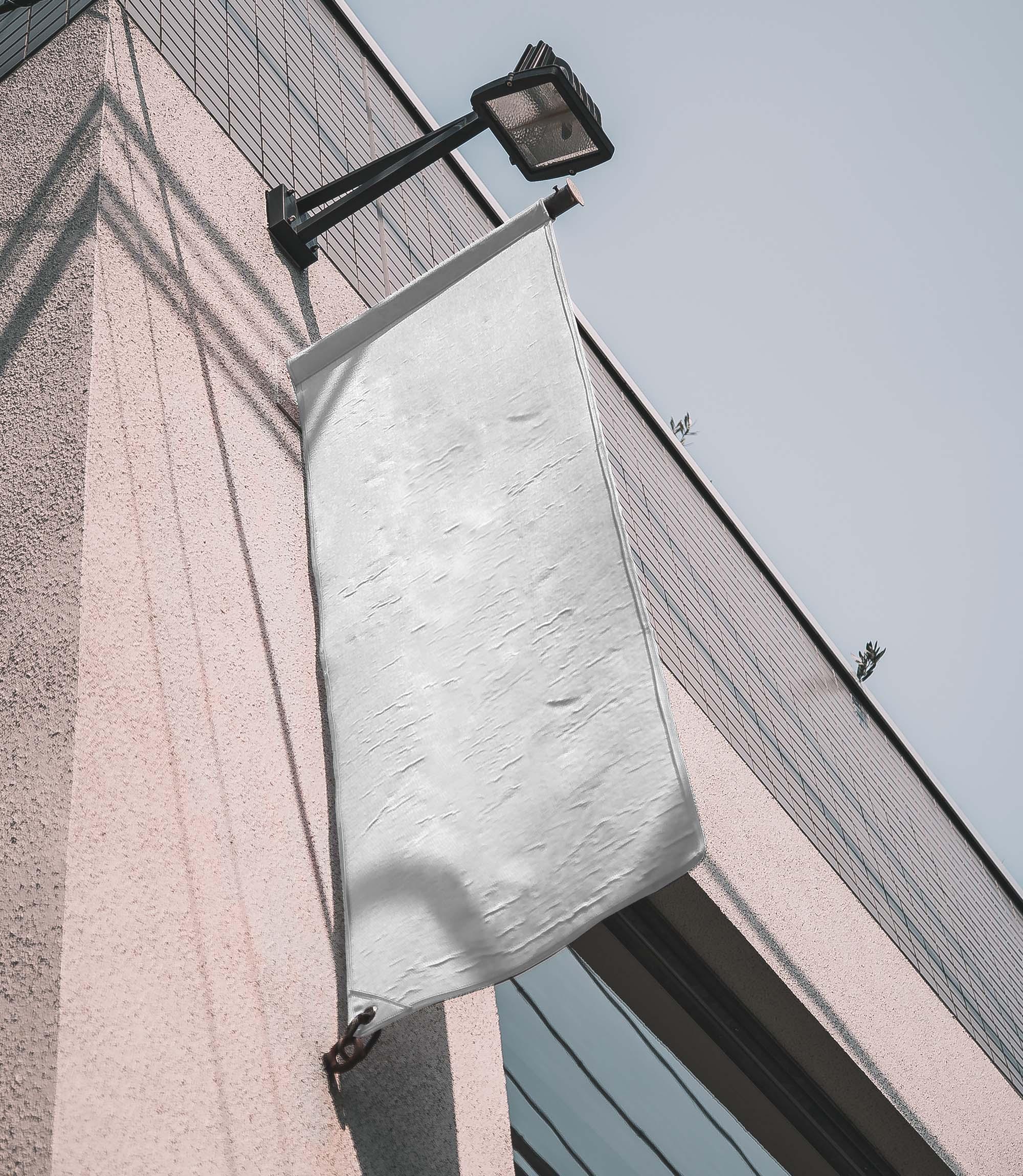 Vertical Flag on Building Mockup 2