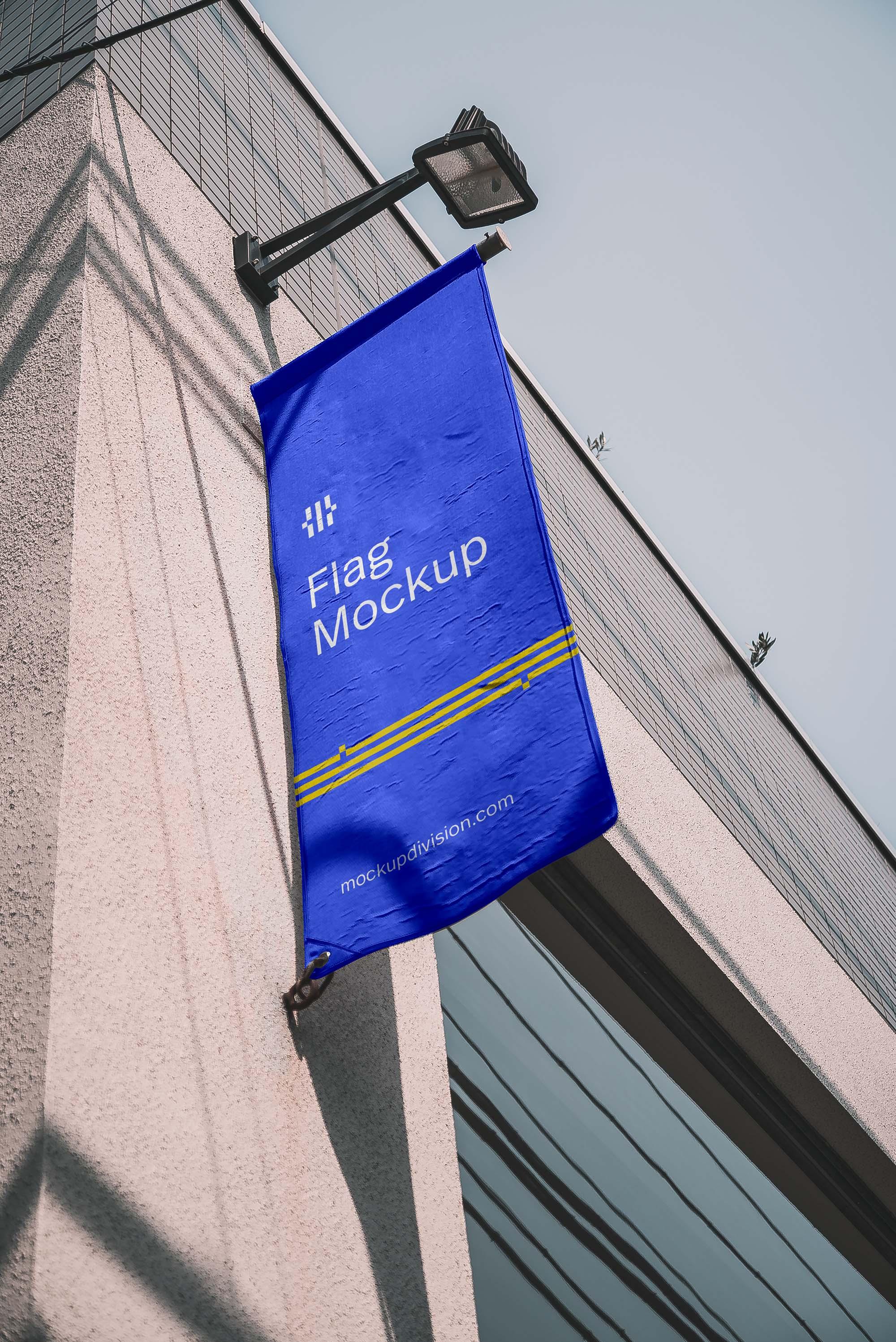 Vertical Flag on Building Mockup