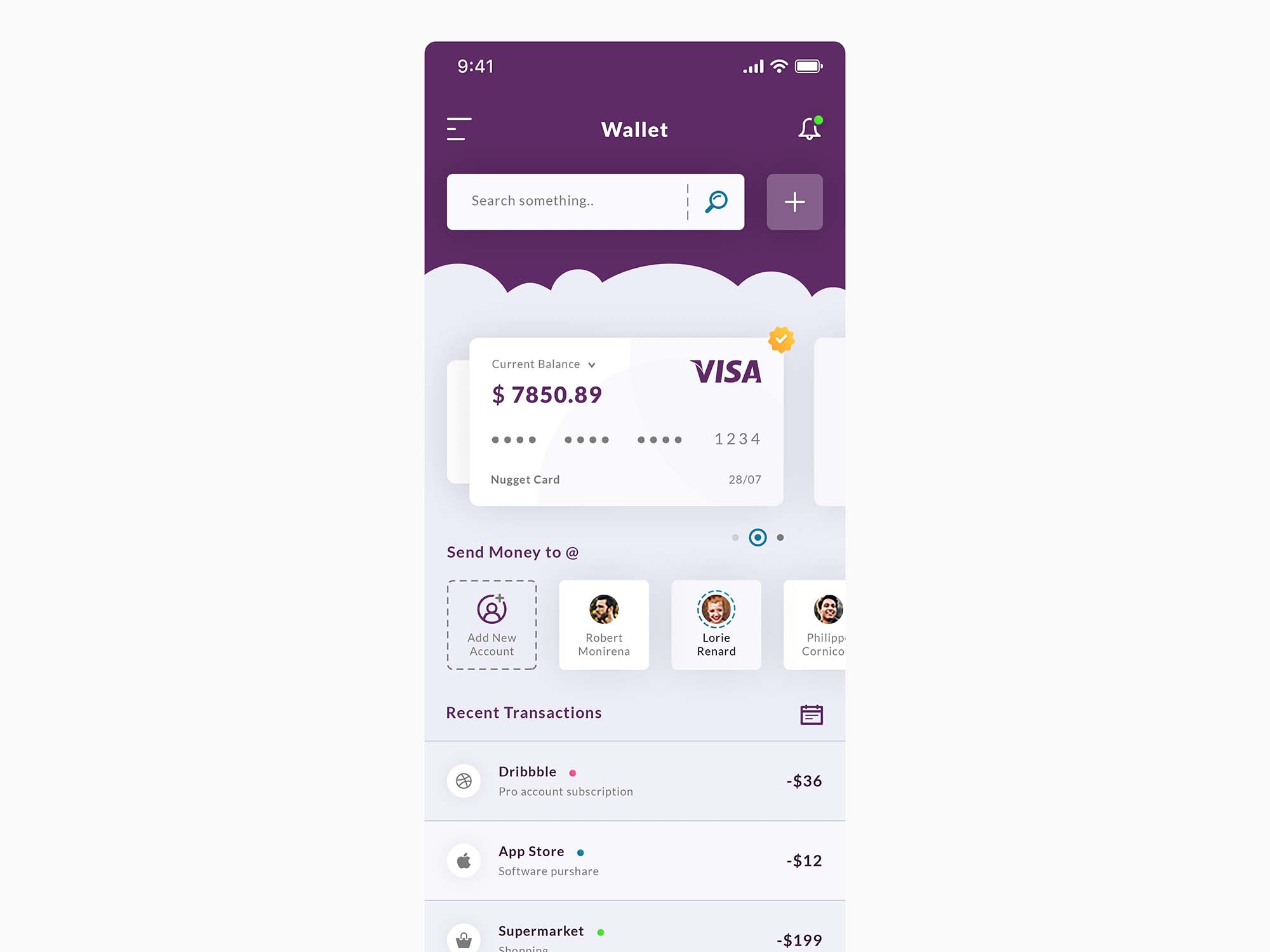 Wallet & Dashboard App Template PSD