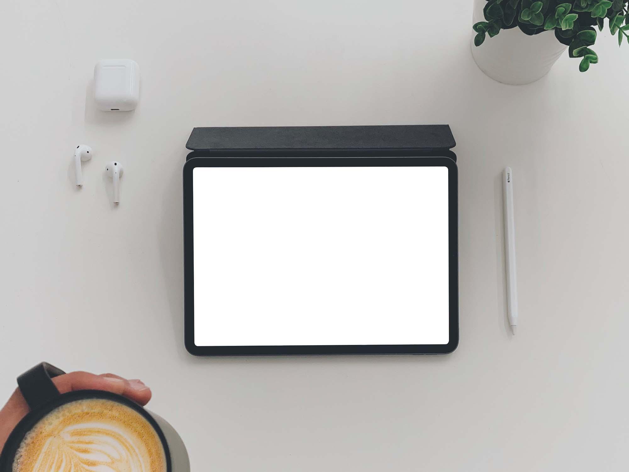 iPad Mockup with Coffee 2