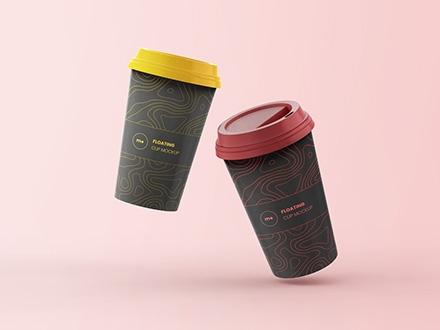 2 Floating Coffee Cups Mockup