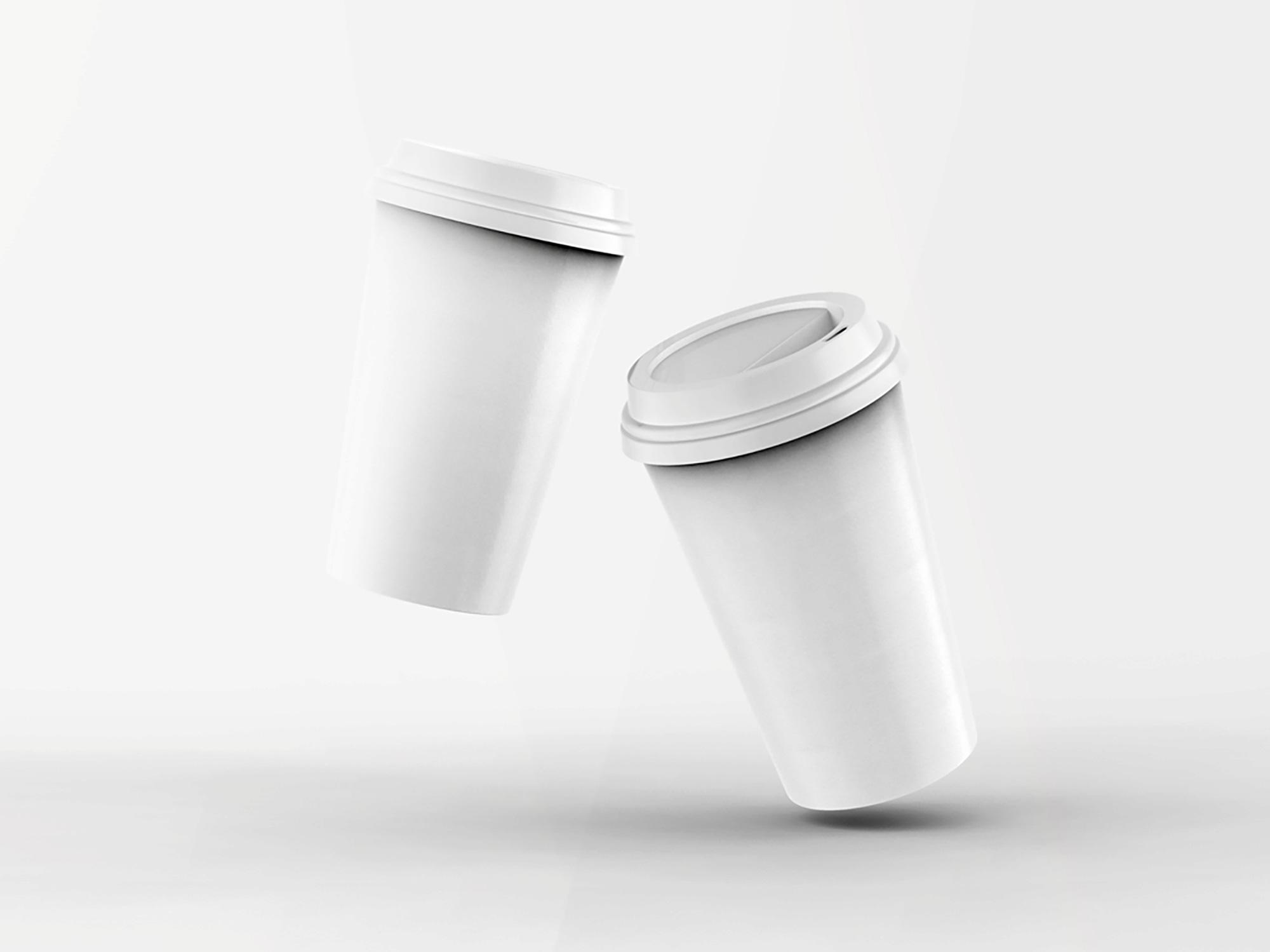 2 Floating Coffee Cups Mockup 2