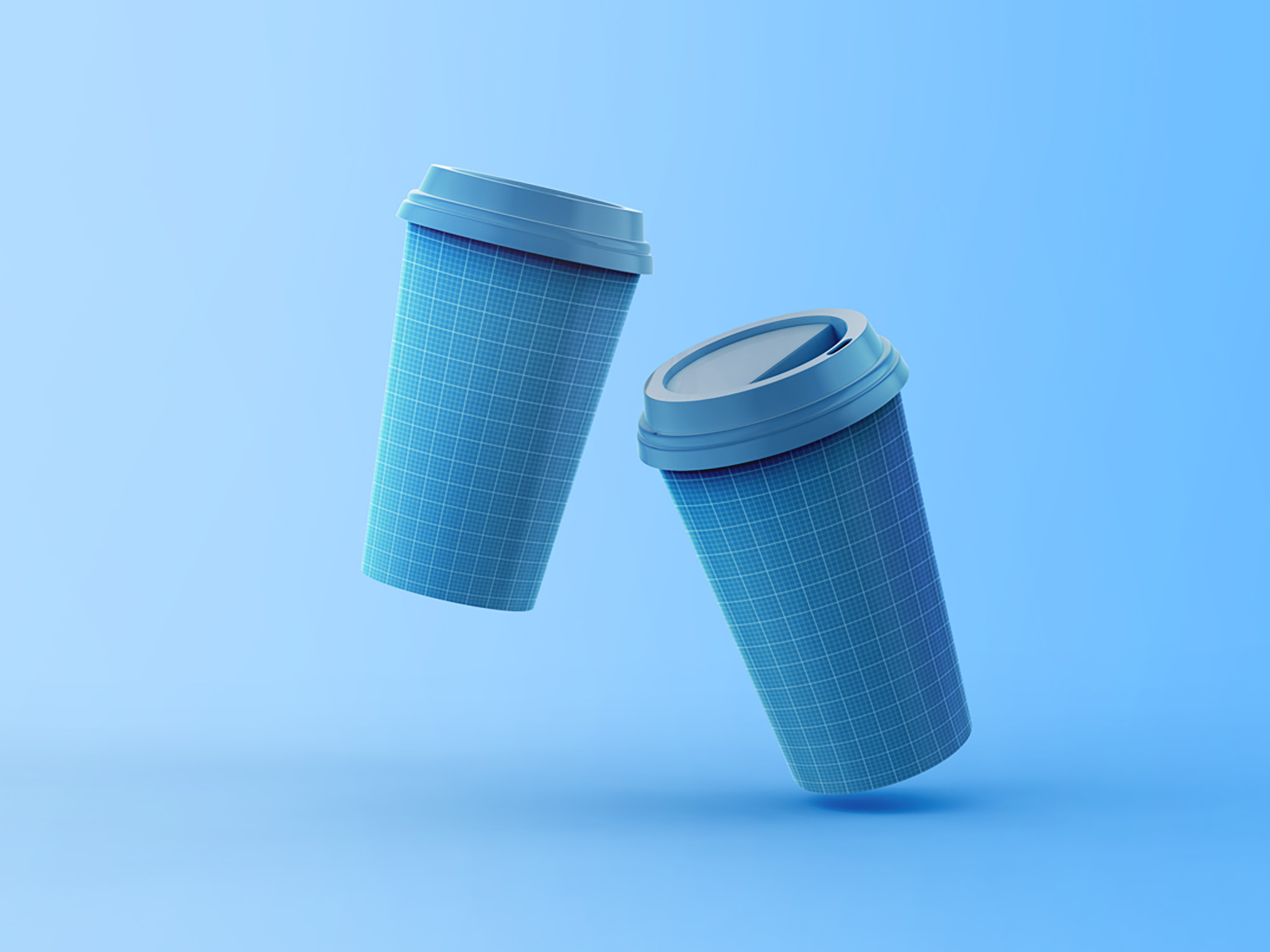2 Floating Coffee Cups Mockup 3