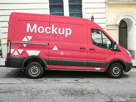 Delivery Car Mockup