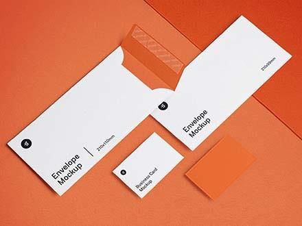 Envelope and Business Card Mockup