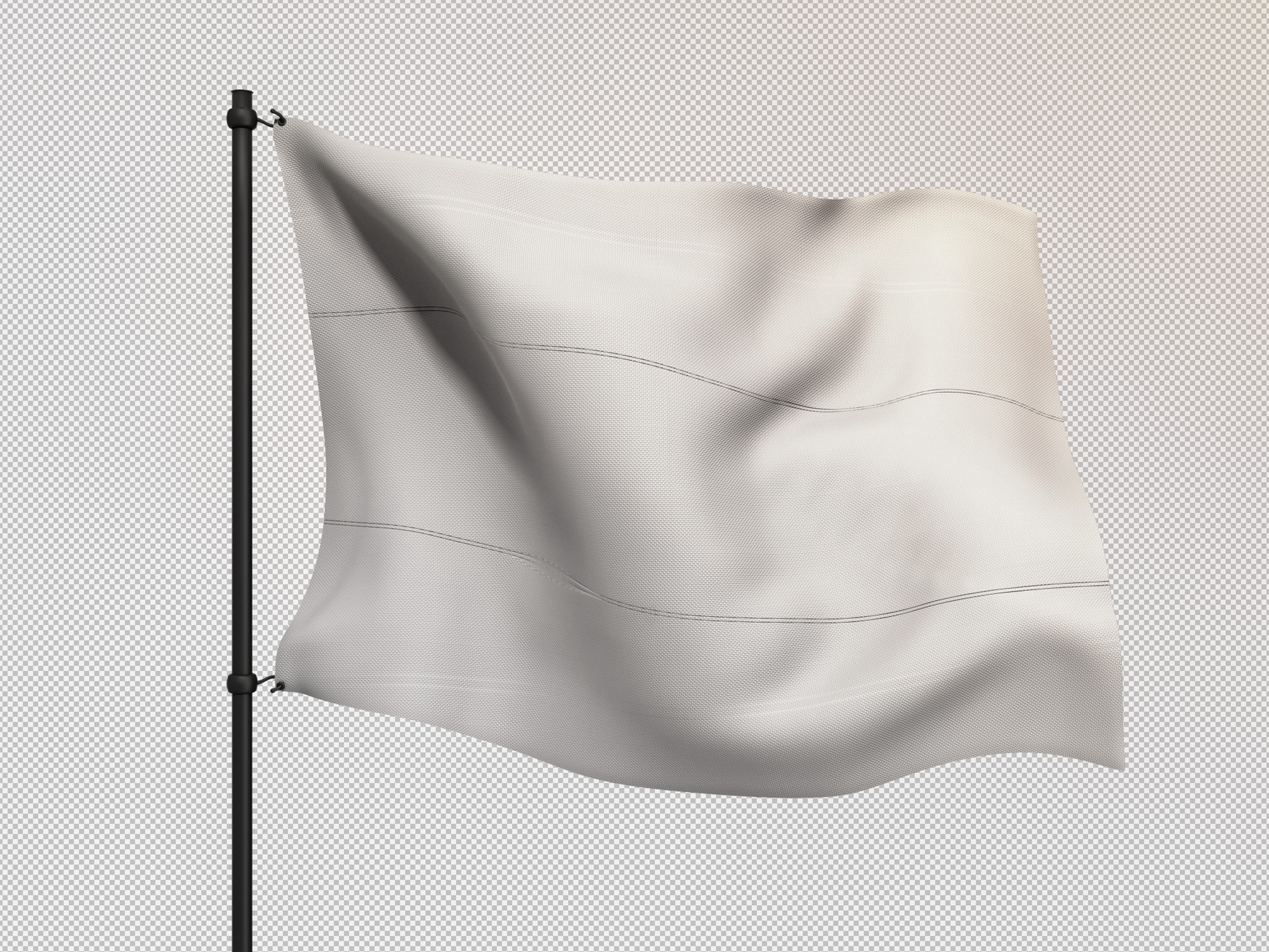 Flag Attached to Metal Pole Mockup 2
