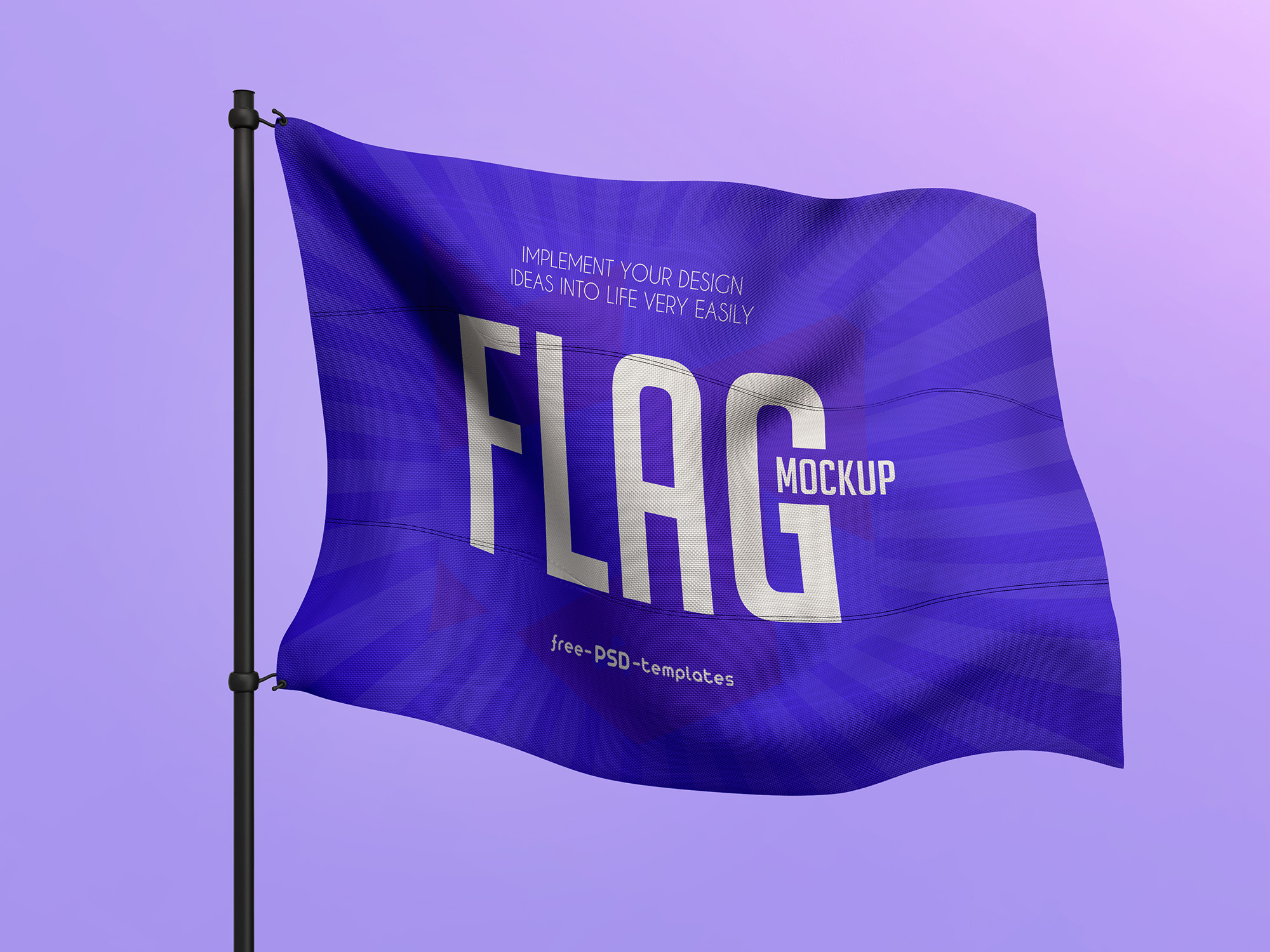 Flag Attached to Metal Pole Mockup 3