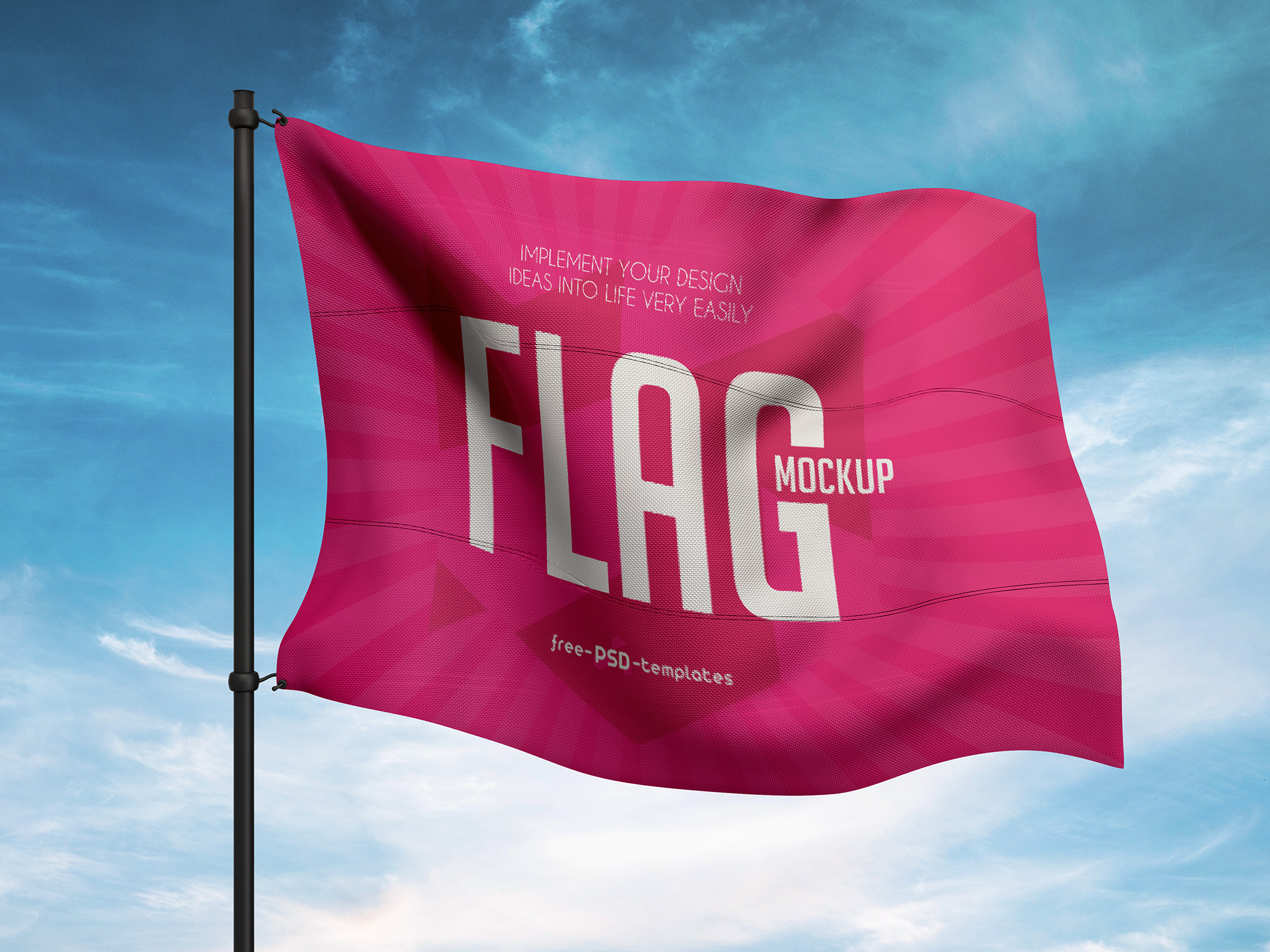 Flag Attached to Metal Pole Mockup