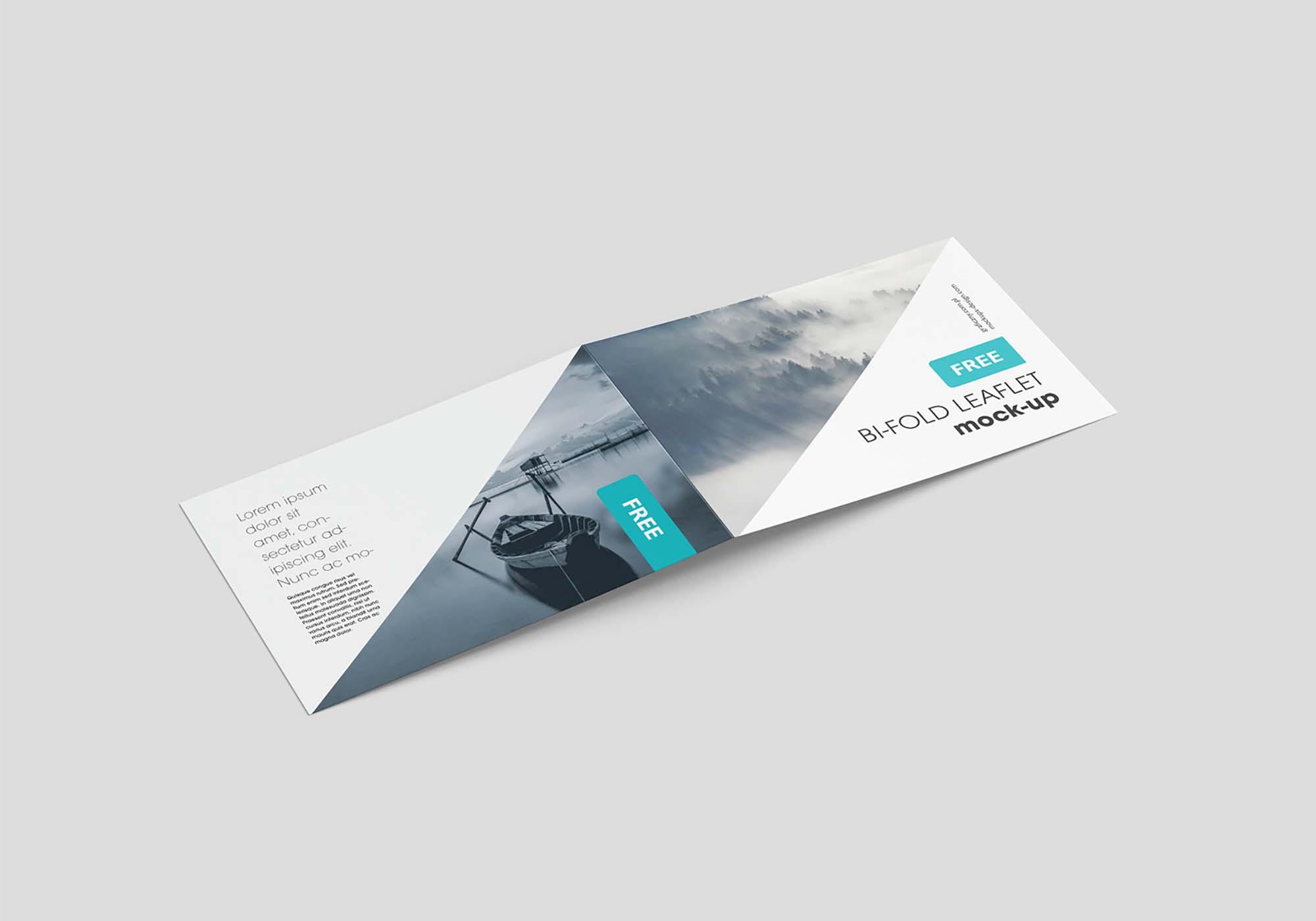 Horizontal Bi-Fold Leaflet Mockup 2