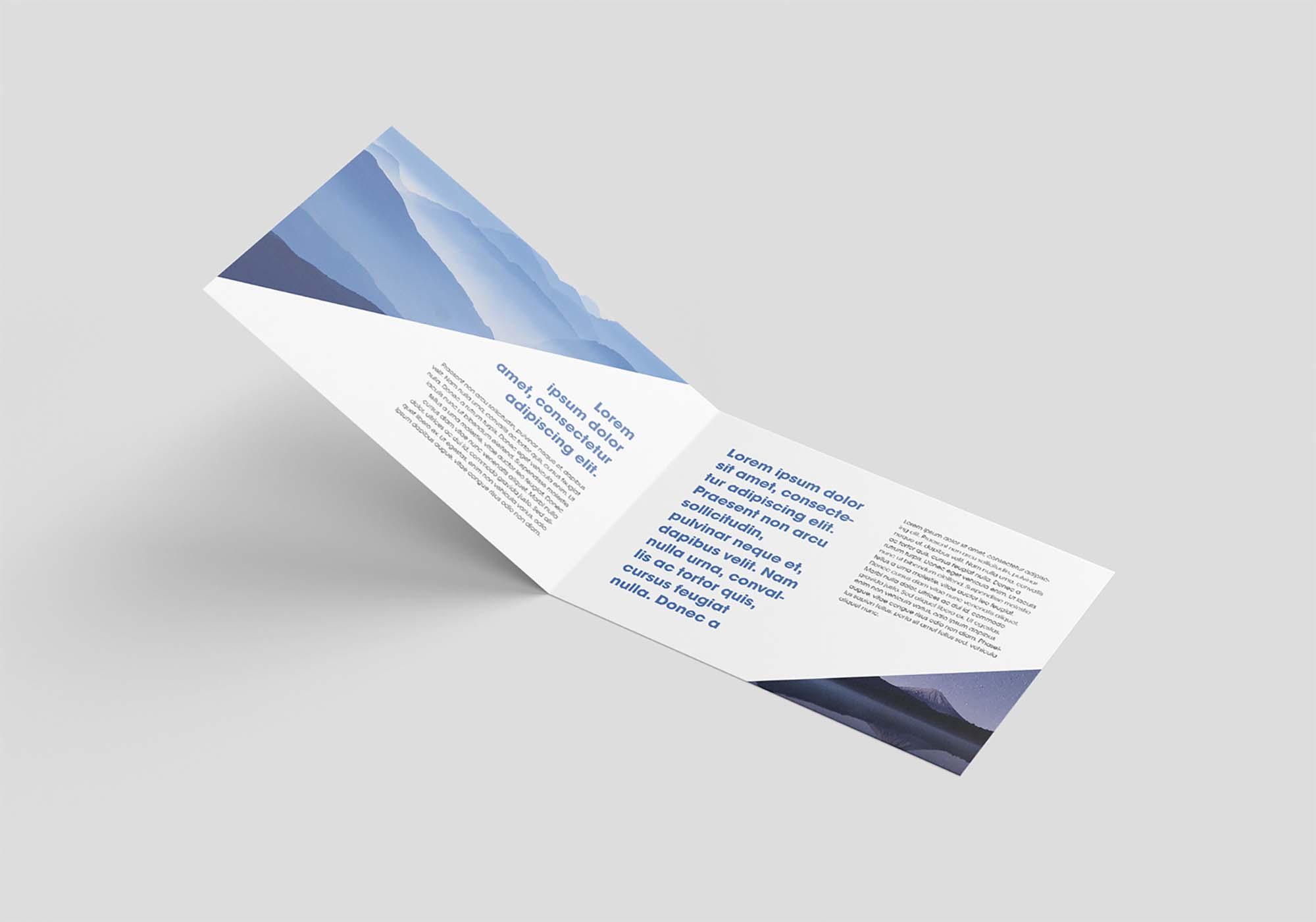 Horizontal Bi-Fold Leaflet Mockup 3