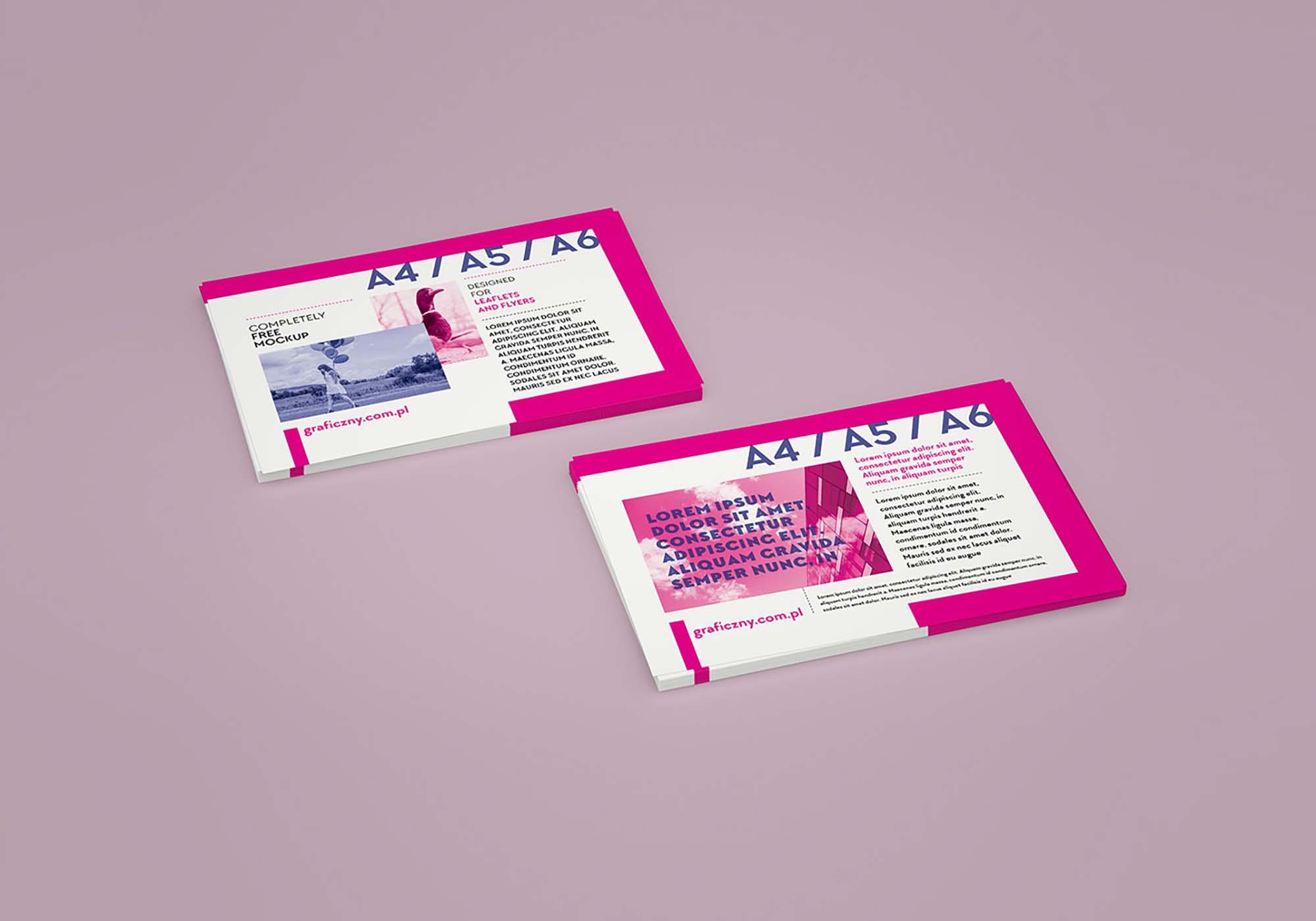 Horizontal Leaflet Mockup 4