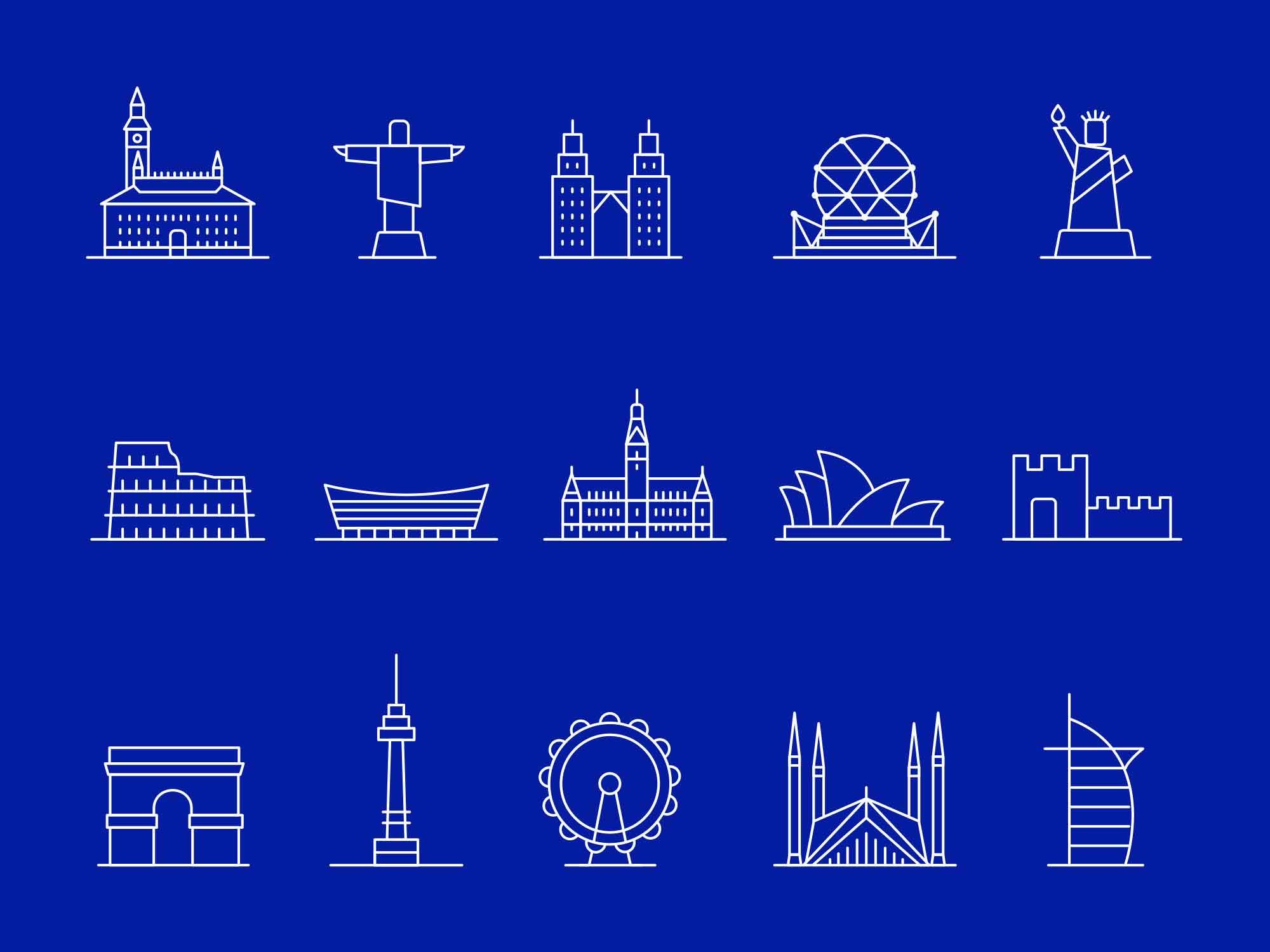 Landmark Line Vector Icons