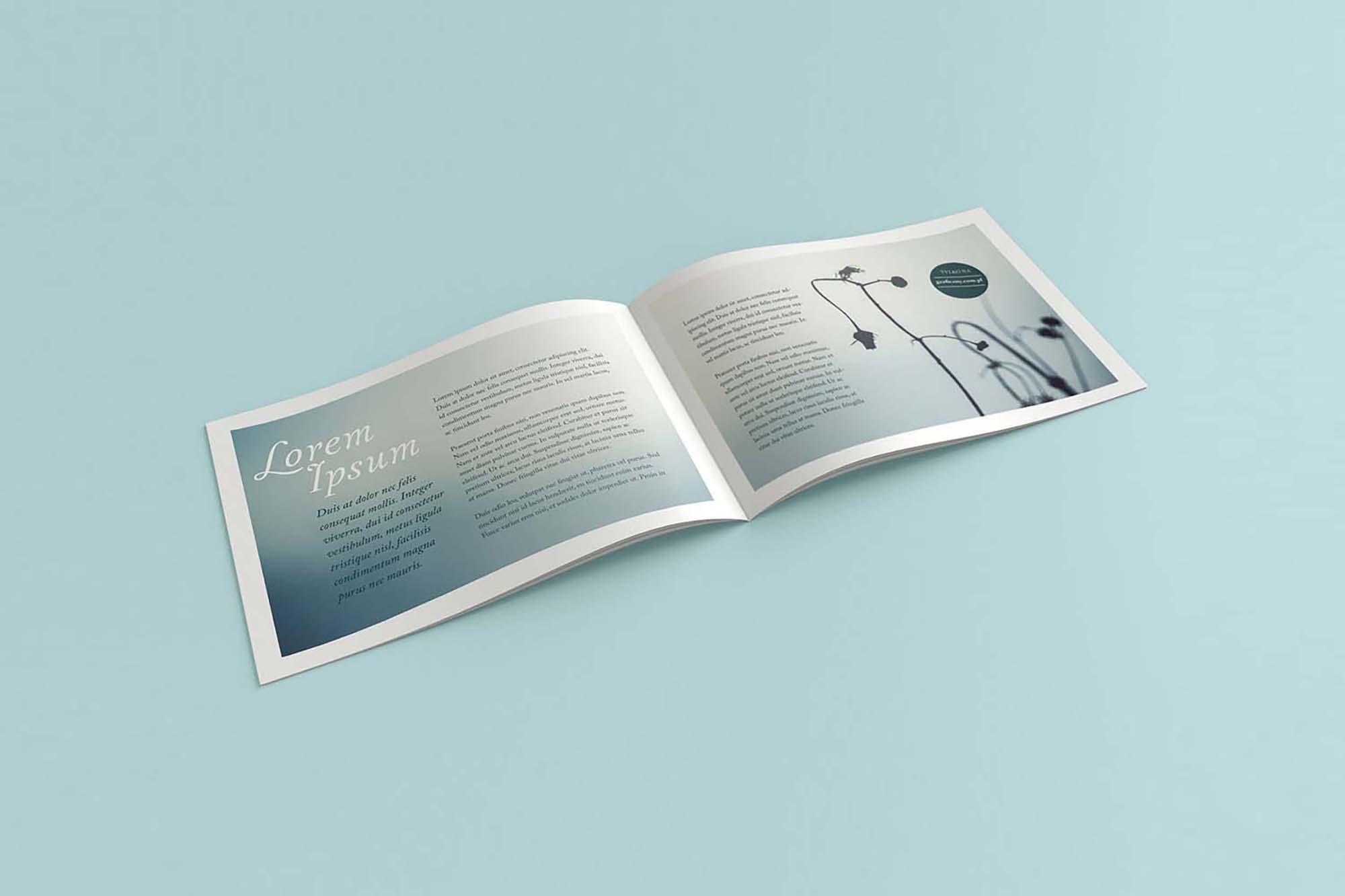 Opened Landscape Brochure Mockup