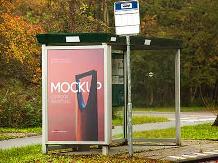 Outdoor Bus Stop Advertising Mockup