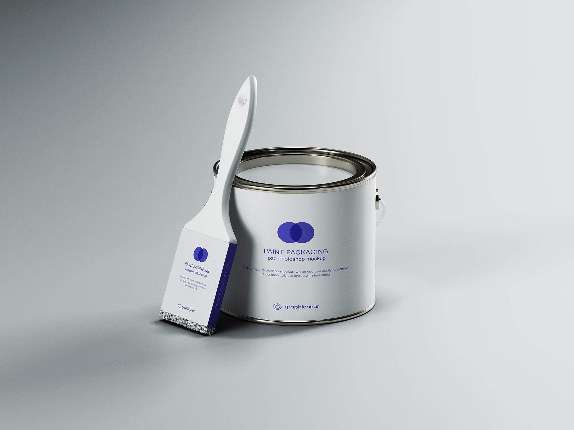 Paint Can with Brush Packaging Mockup