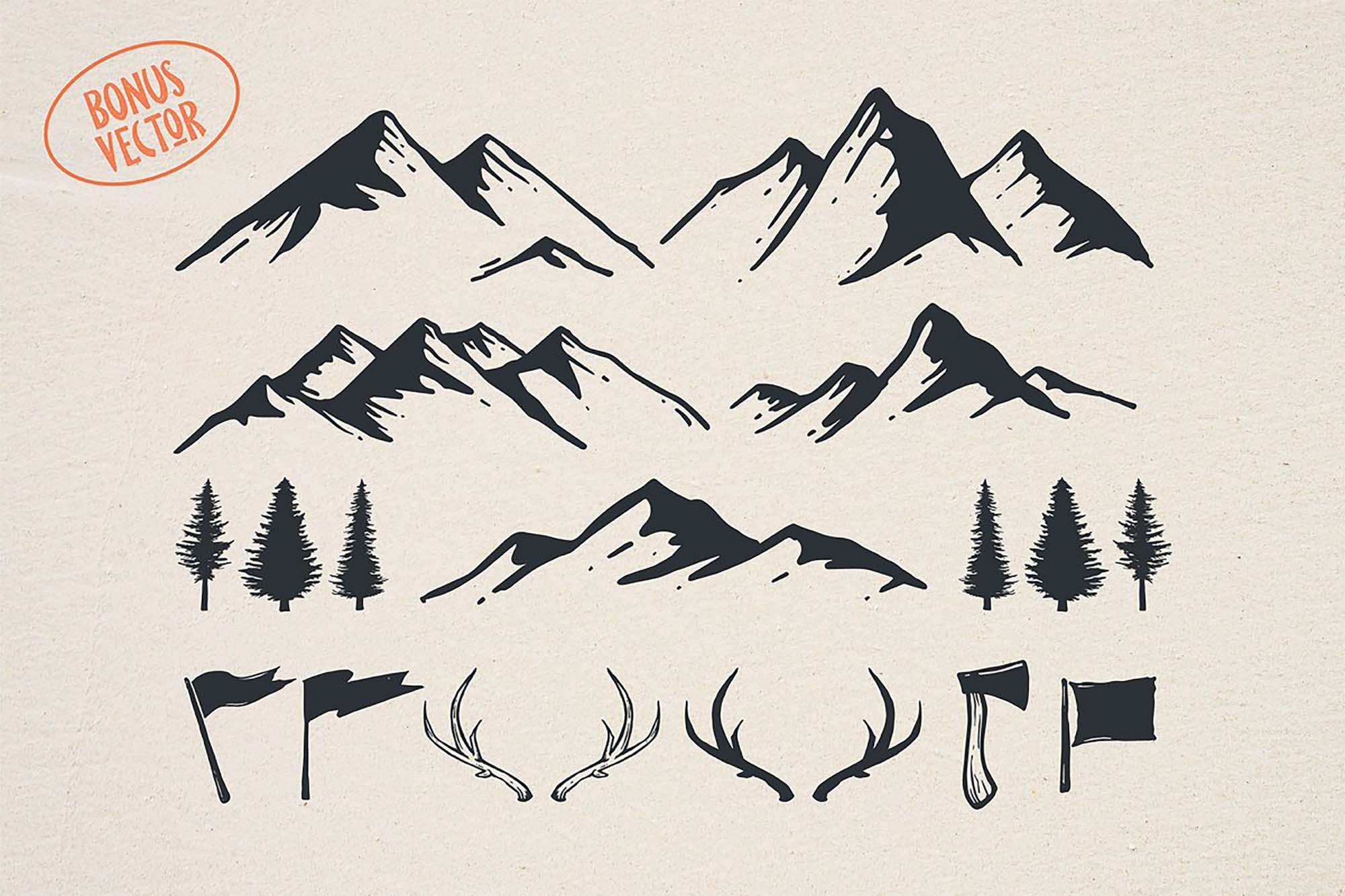 Pine Forest Outdoor Typeface - Vector Bonus