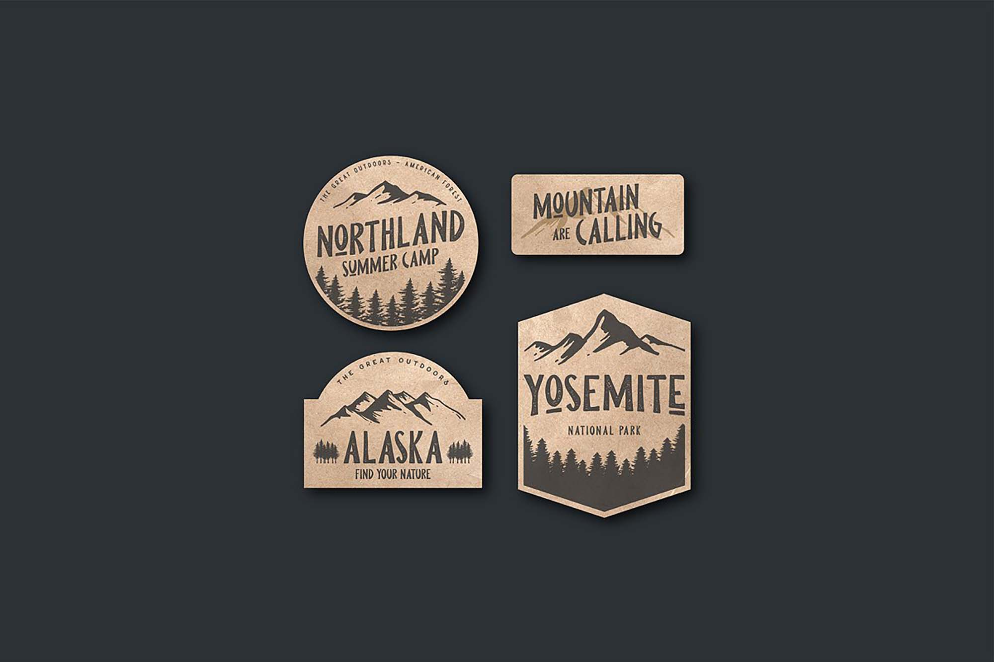 Pine Forest Outdoor Typeface - Badges