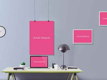 Posters with Laptop Mockup