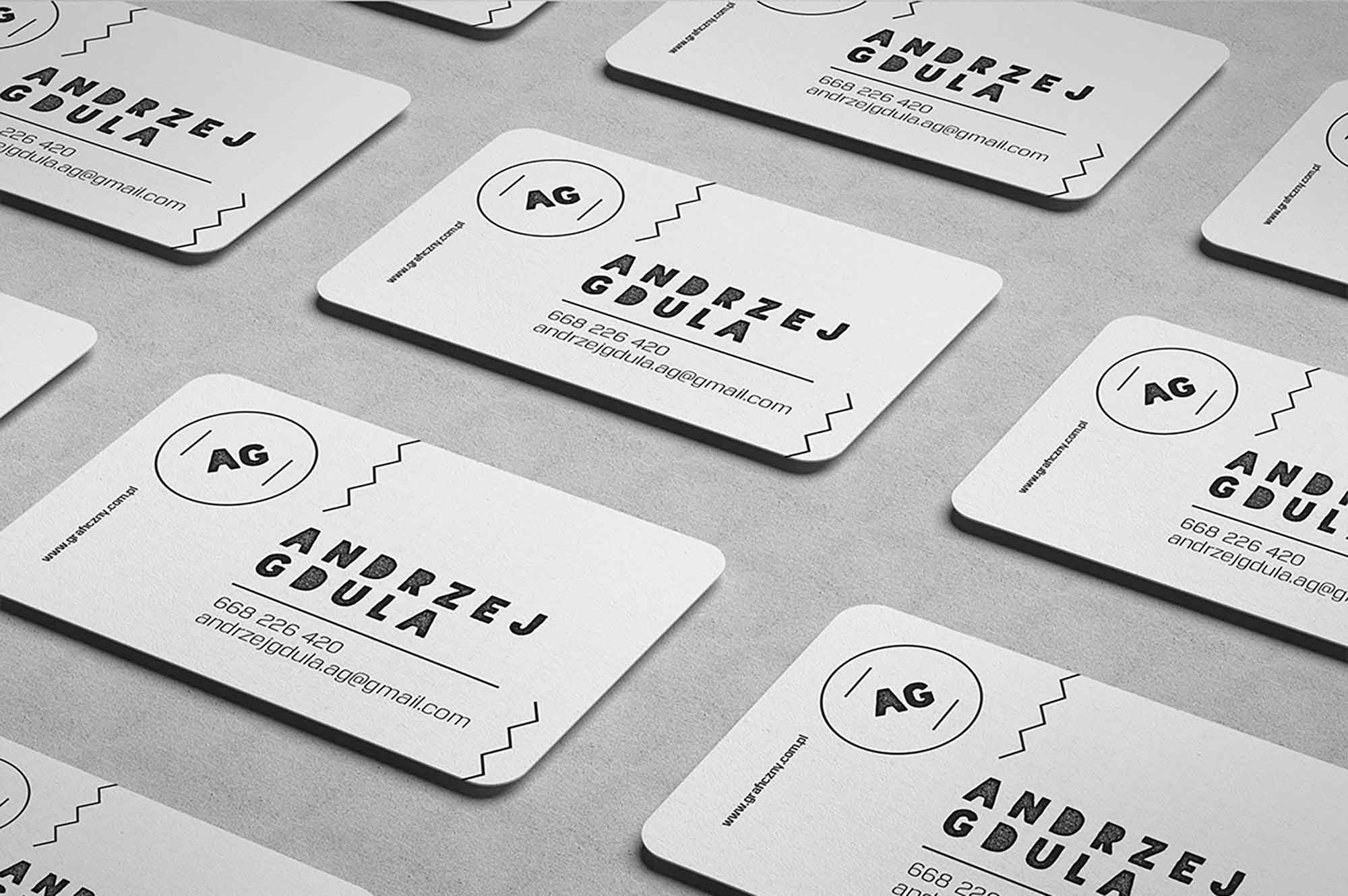 Rounded Business Cards Mockup 2
