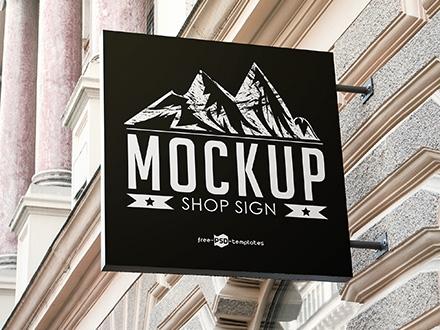 Square Shop Sign Mockup
