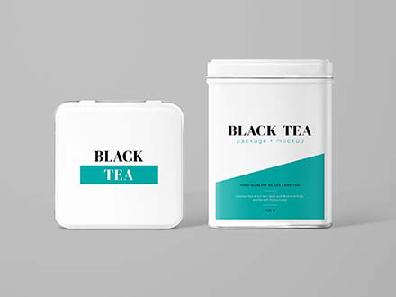 Tea Can Package Mockup