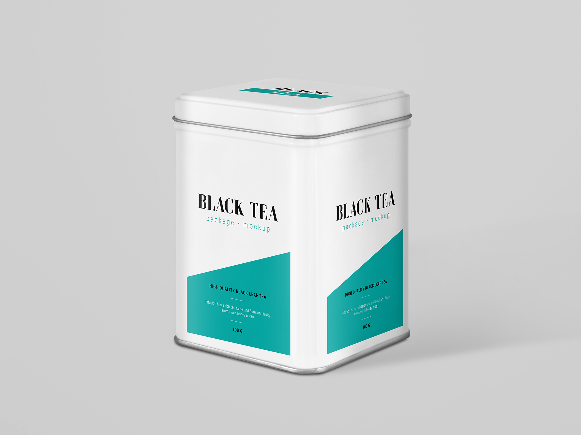 Perspective Tea Can Package Mockup