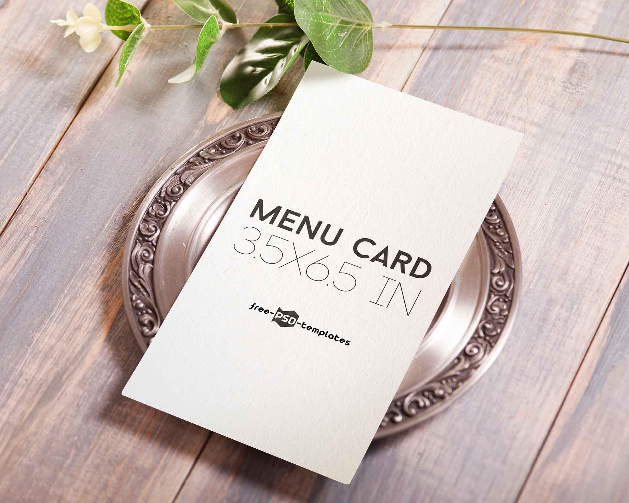 Free Vertical Menu Card Mockup Psd