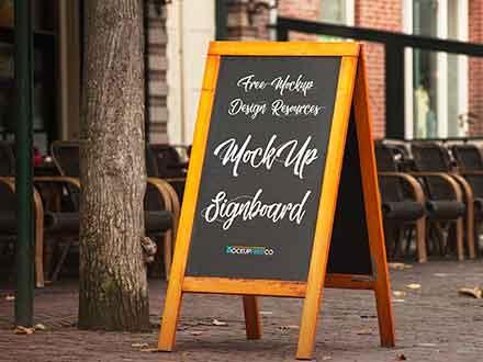 Wooden Edges Signboard Mockup