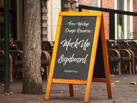 Wooden Edges Signboard Mockup