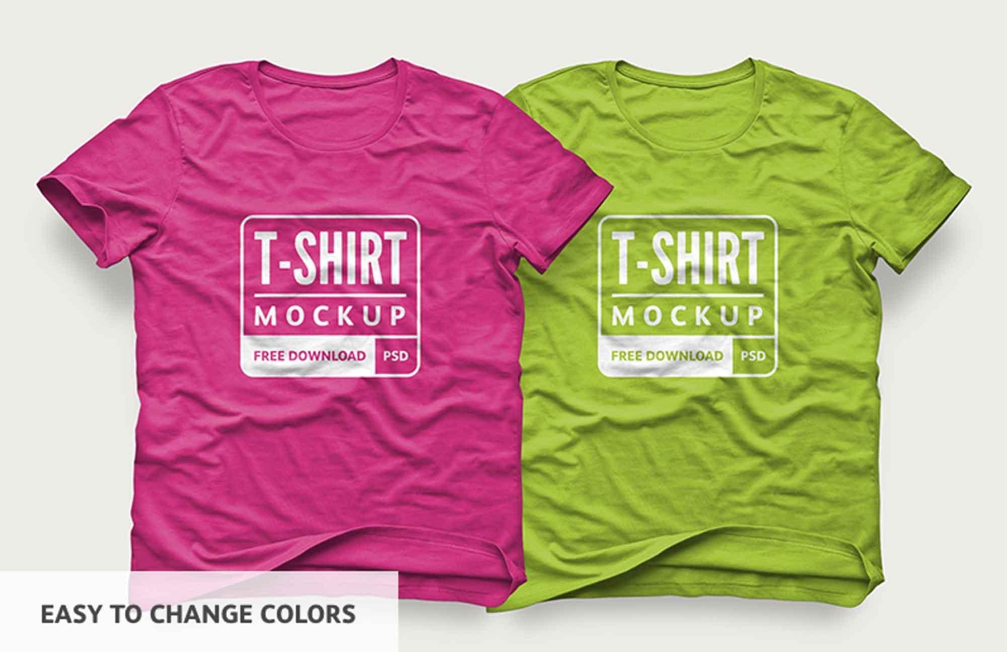 Wrinkled T-Shirt Design Mockup 3