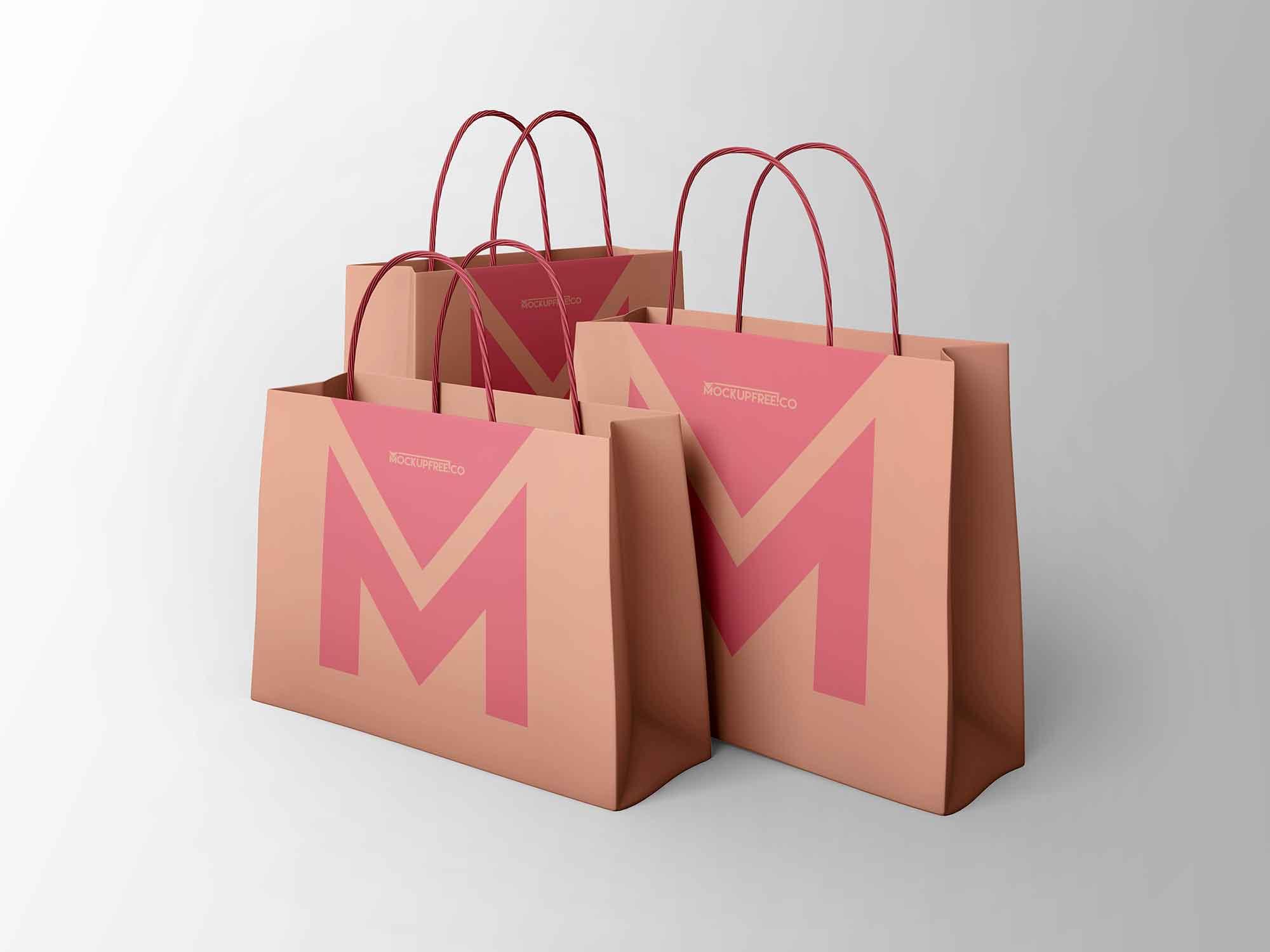 3 Paper Bags Mockup