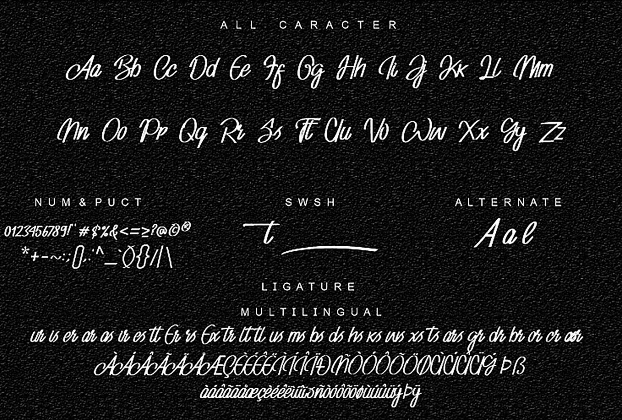 Adventure Script Font Characters