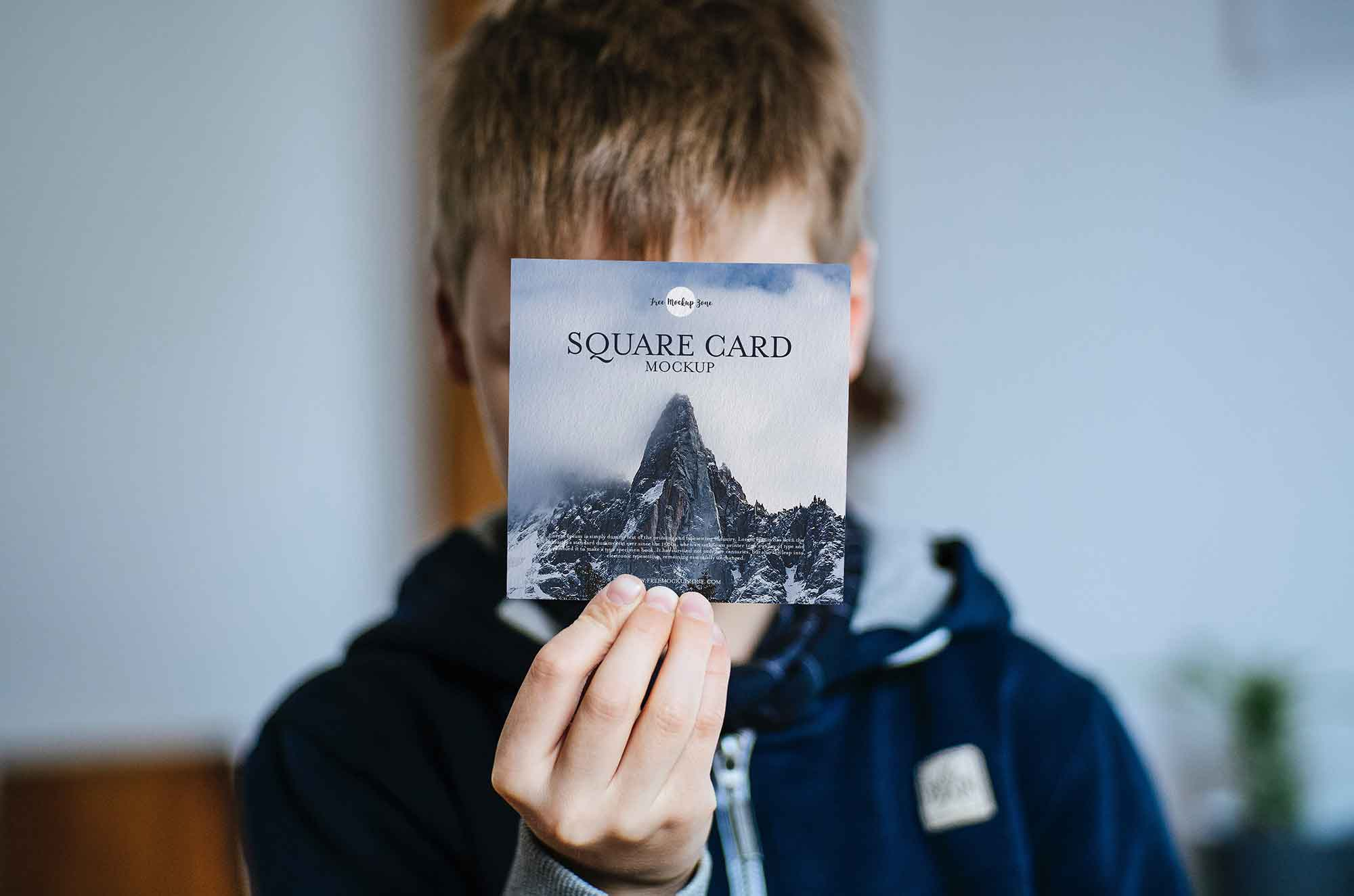 Boy Showing Square Card Mockup
