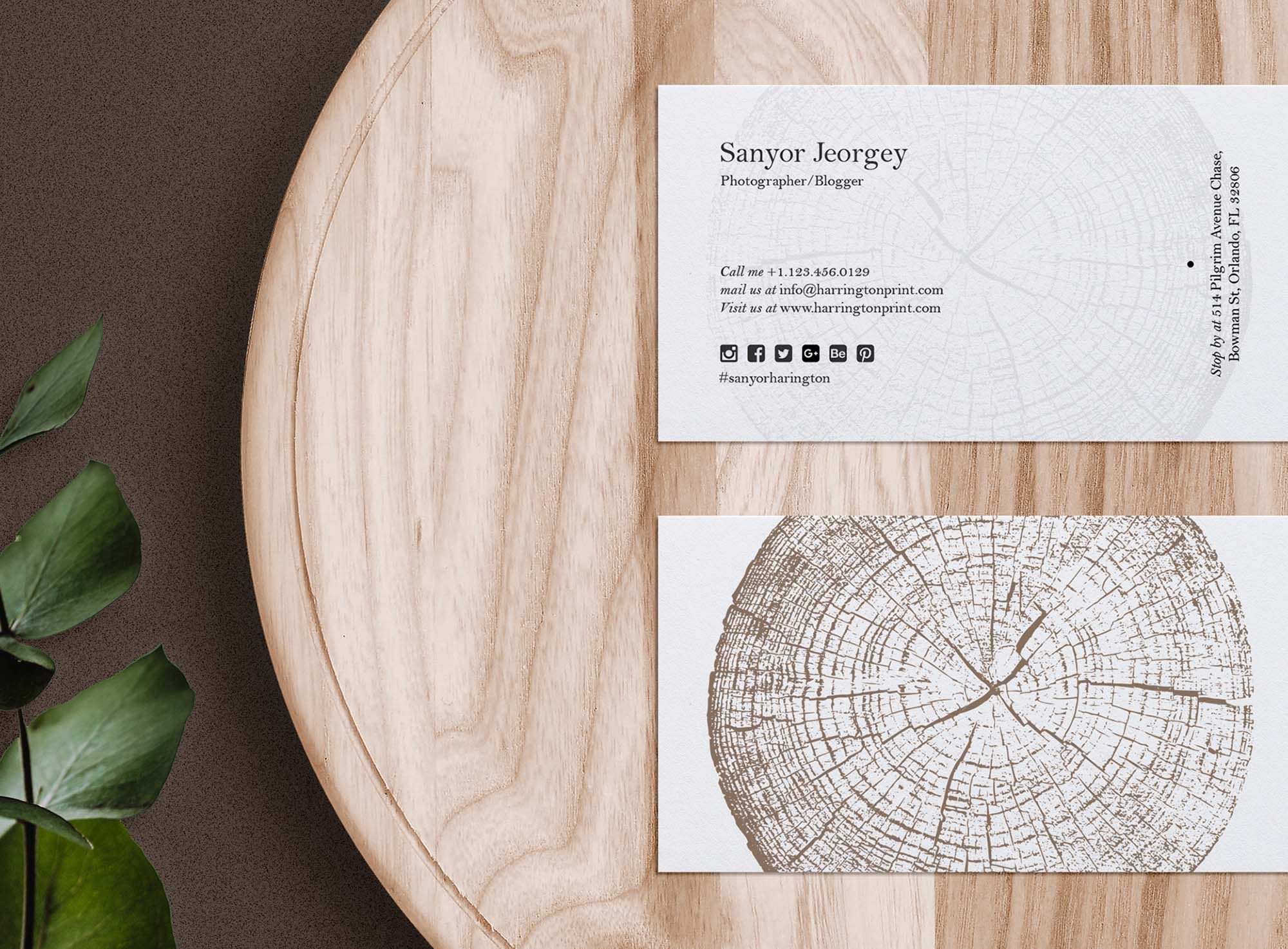 Business Card Mockup on Wooden Tray 2