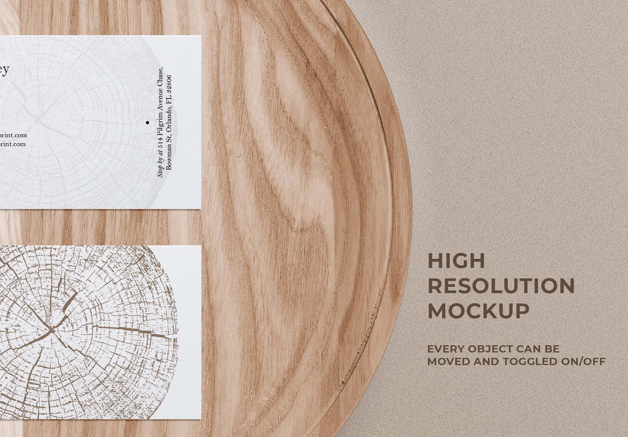 Business Card Mockup on Wooden Tray 3