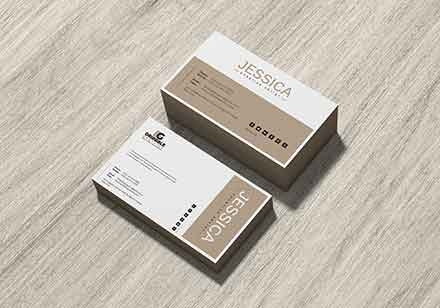 Business Card on Wood Mockup