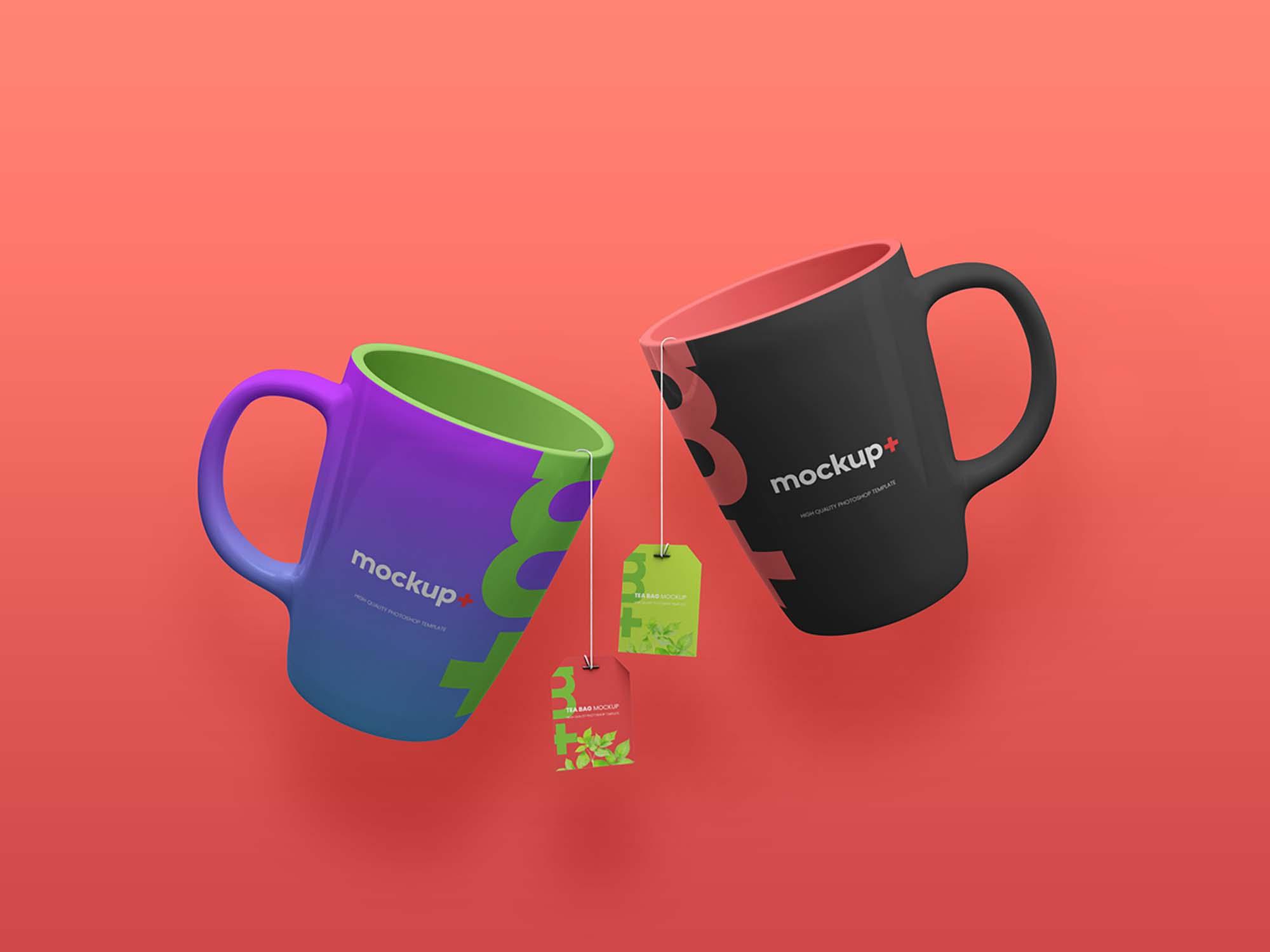 Free Ceramic Mugs & Tea Labels Mockup