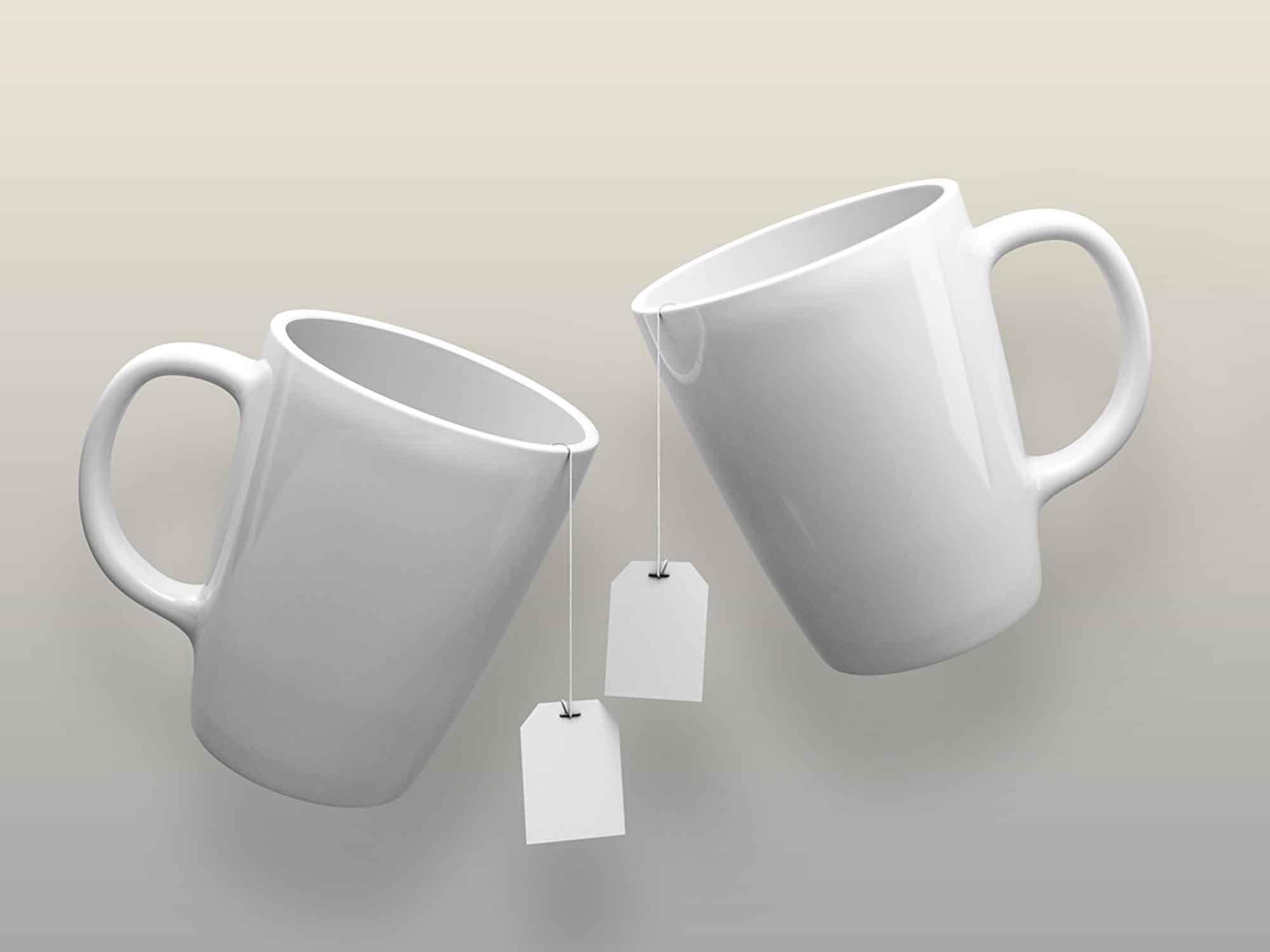 Free Ceramic Mugs & Tea Labels Mockup 2