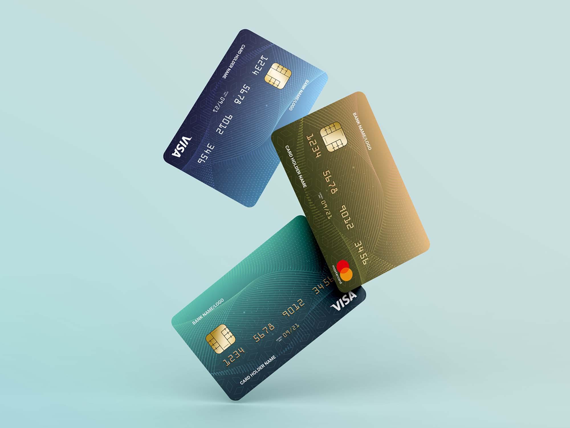 Floating Credit Cards Mockup