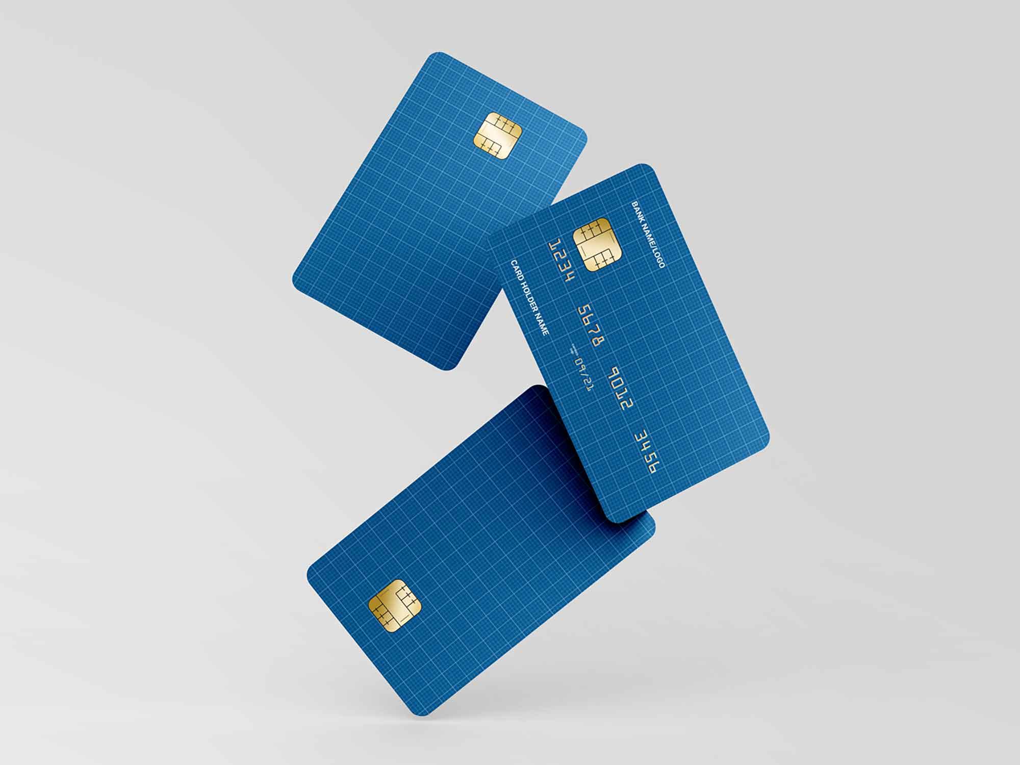 Floating Credit Cards Mockup 2