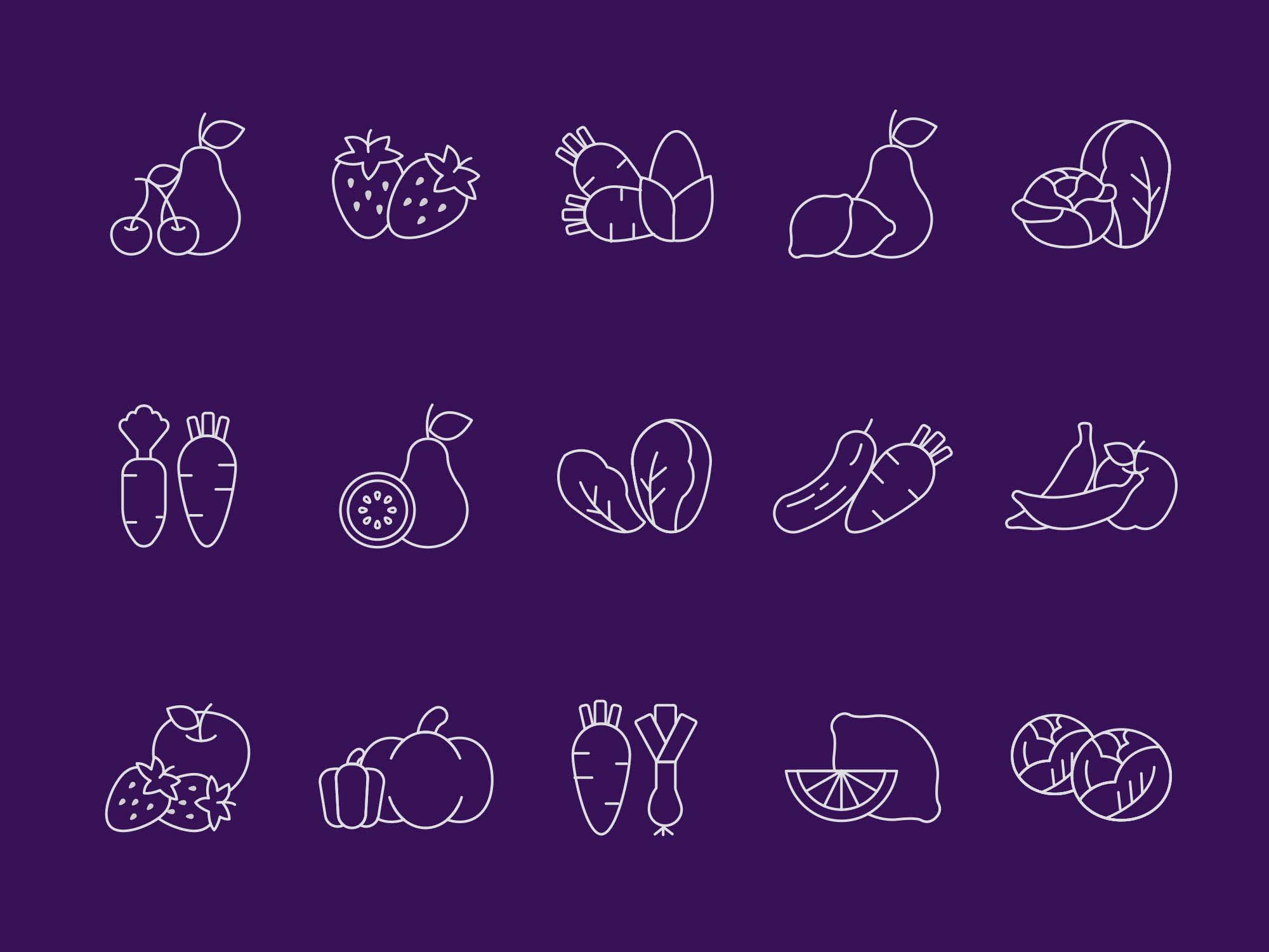 Fruit and Vegetables Vector Icons